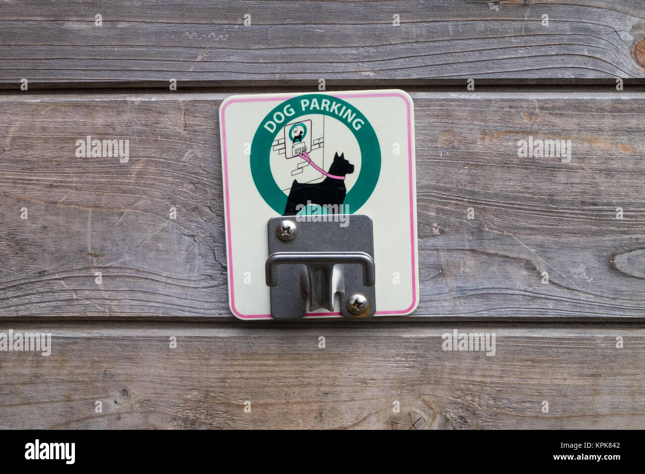 Dog parking hook, Bedgebury National Pinetum at Bedgebury, Kent - Stock Image