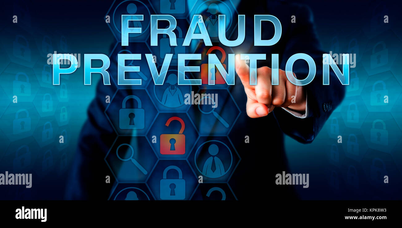 Forensic Examiner Pushing FRAUD PREVENTION - Stock Image
