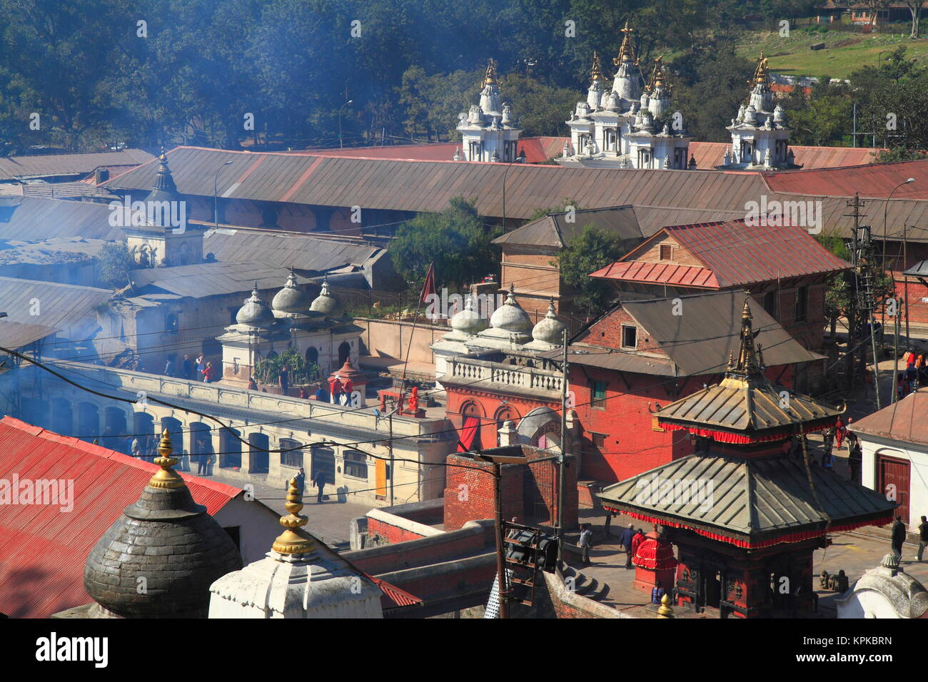 Pashupatinath Temple is Nepals most sacred Hindu shrine and one of the greatest Shiva sites, is located on the banks - Stock Image