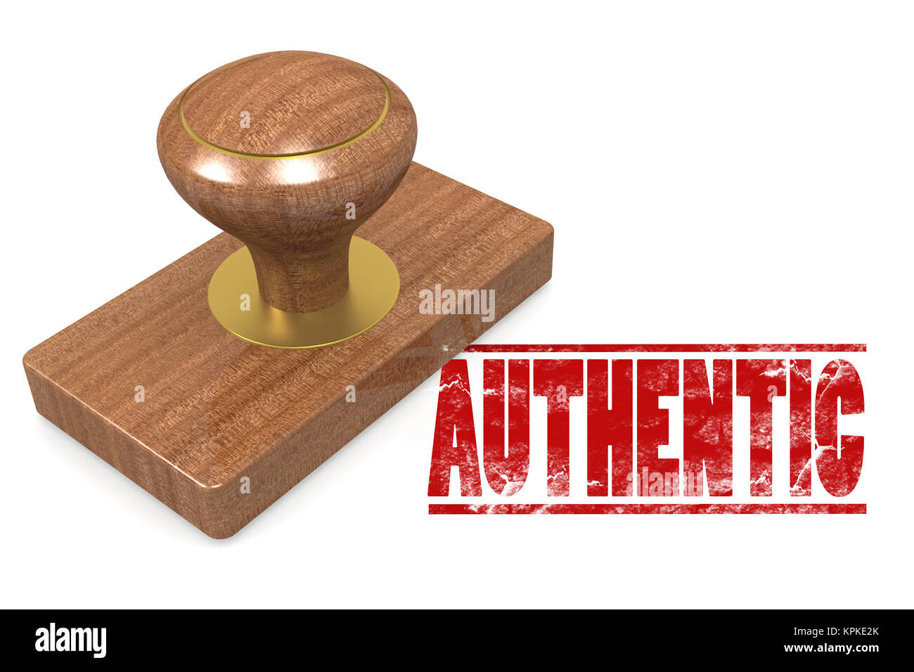 Authentic quallity wooded seal stamp - Stock Image