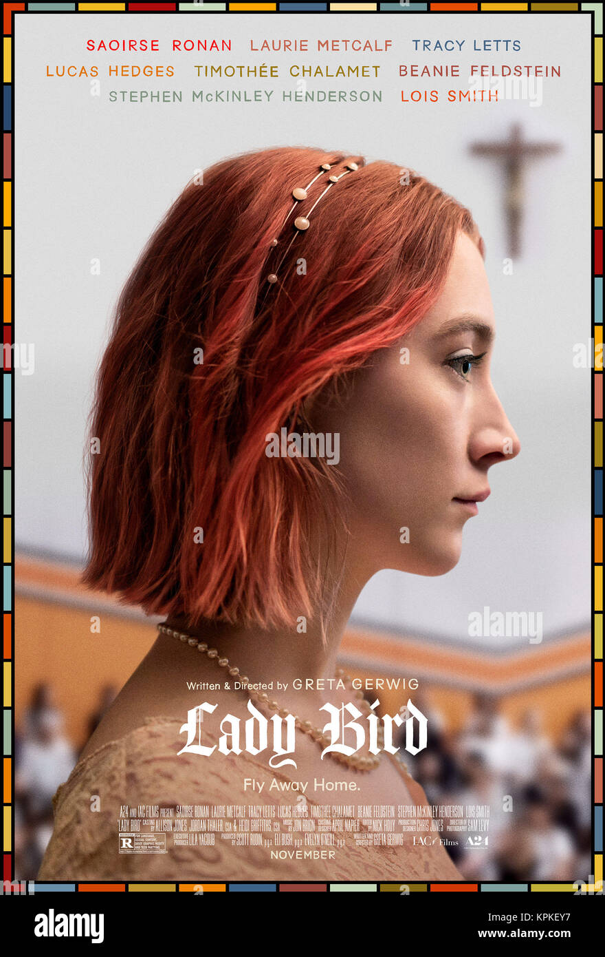 RELEASE DATE: February 18, 2018 TITLE: Lady Bird STUDIO: Elevation Pictures DIRECTOR: Greta Gerwig PLOT: In the - Stock Image