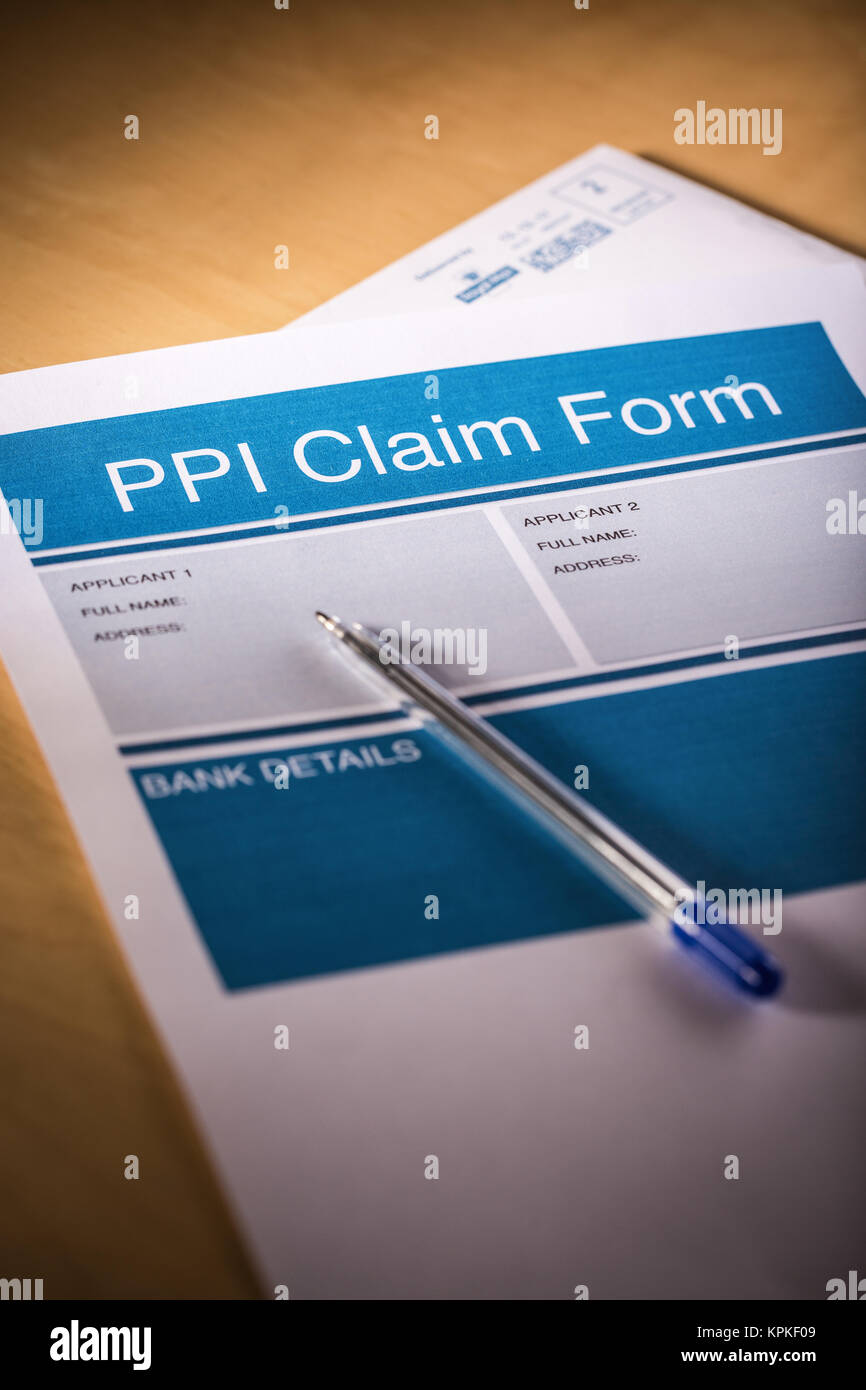 A PPI (Payment Protection Insurance) Claim Form - Stock Image