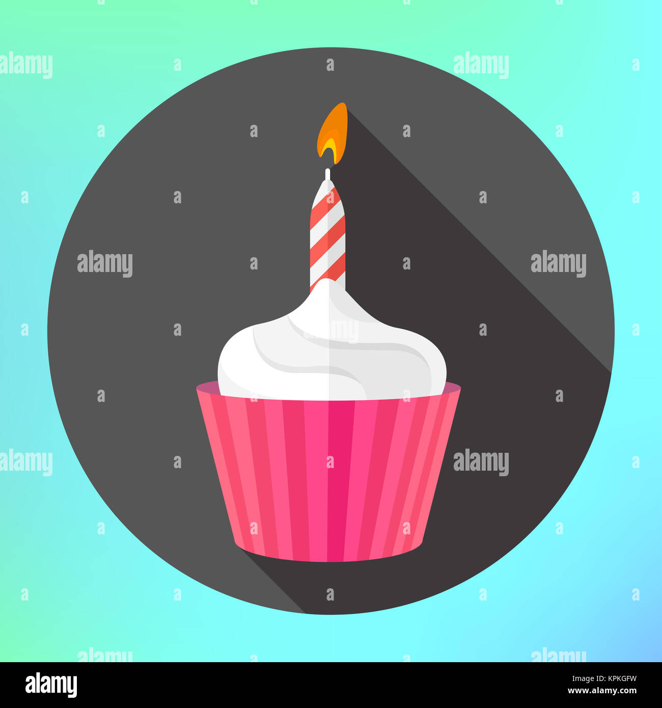 clipart cupcake burning candle flame - Stock Image