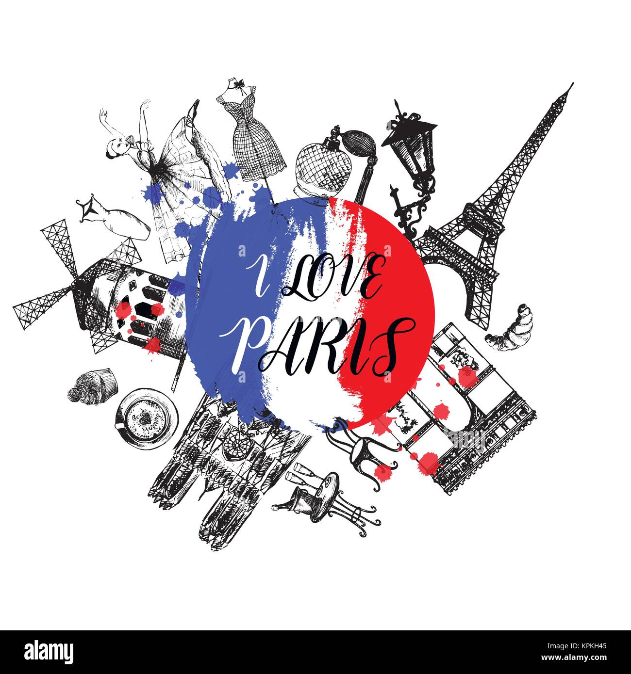 Hand drawn sketch style France themed objects. Vector illustration isolated on white background. - Stock Image