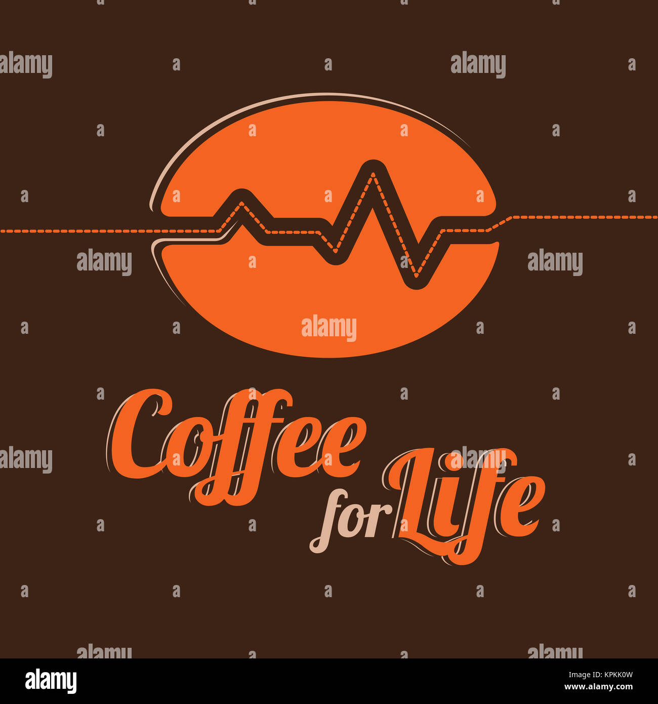 Coffee for Life Emblem. Stylized Coffee Bean and a Line in the Form of a Cardiogram. Text Design. - Stock Image