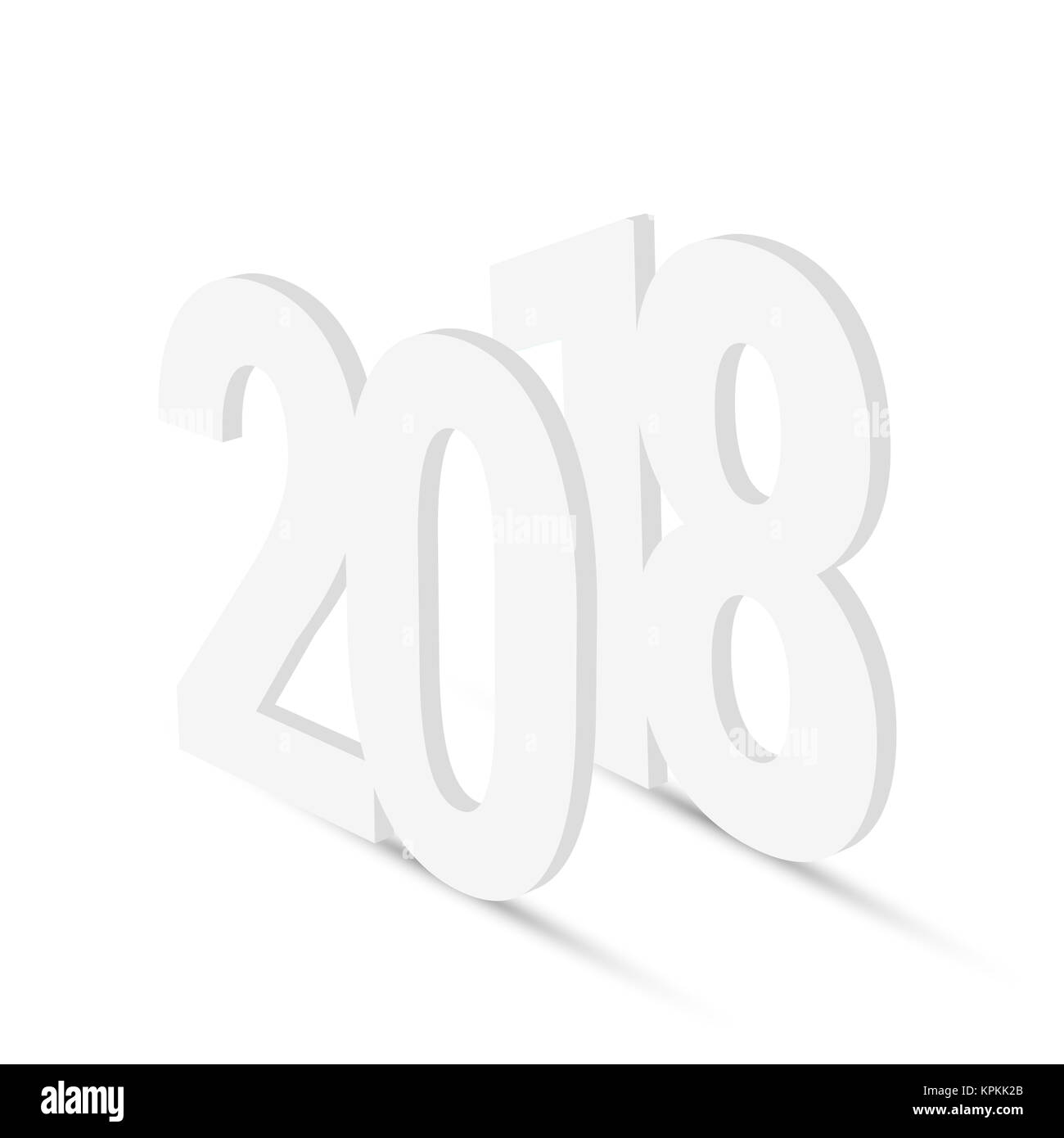 2018 blank white 3d figures happy new year 2018 greeting card design element