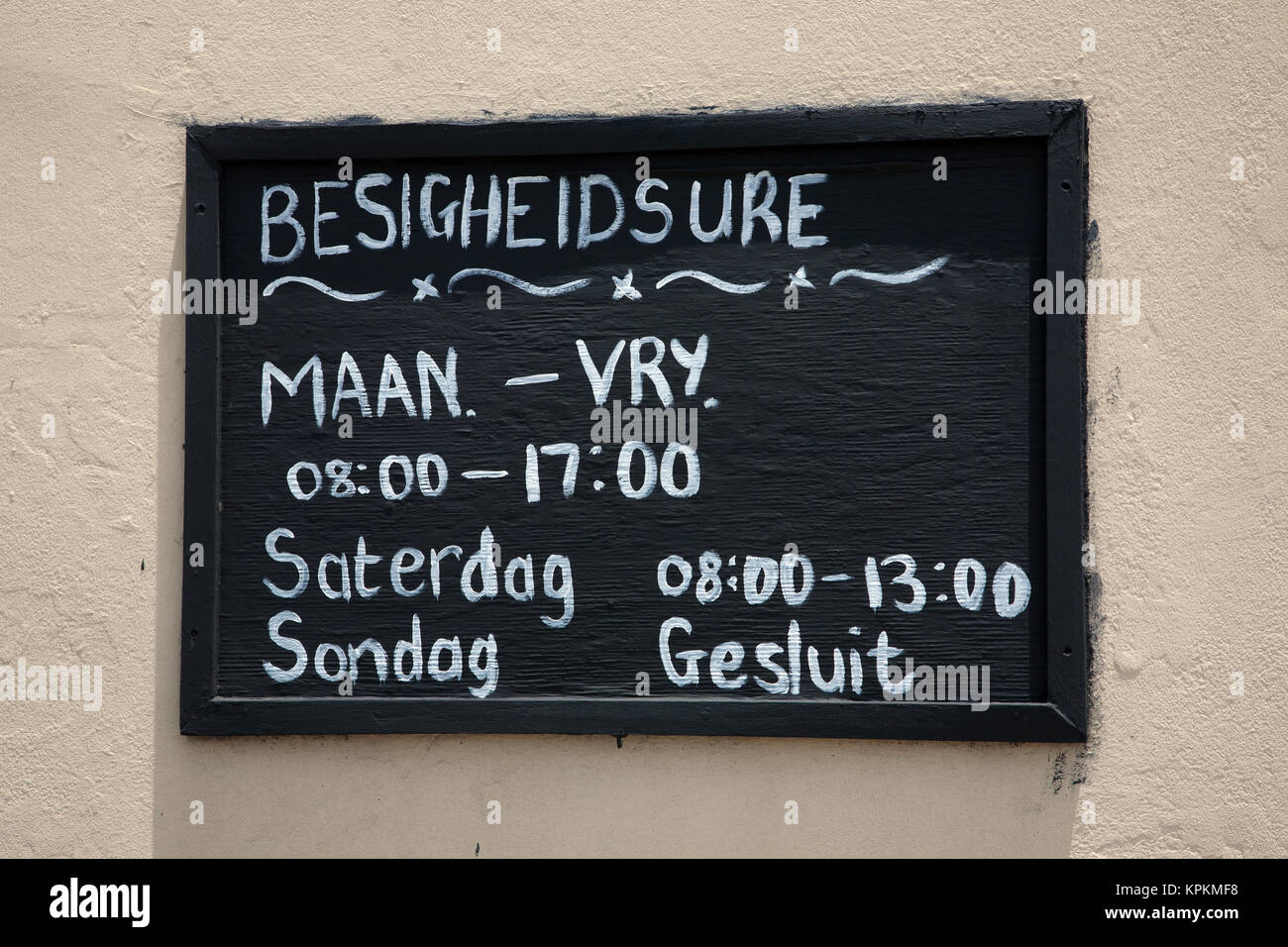 Sign in Afrikaans outside fishmongers, Gansbaai, Western Cape, South Africa. - Stock Image