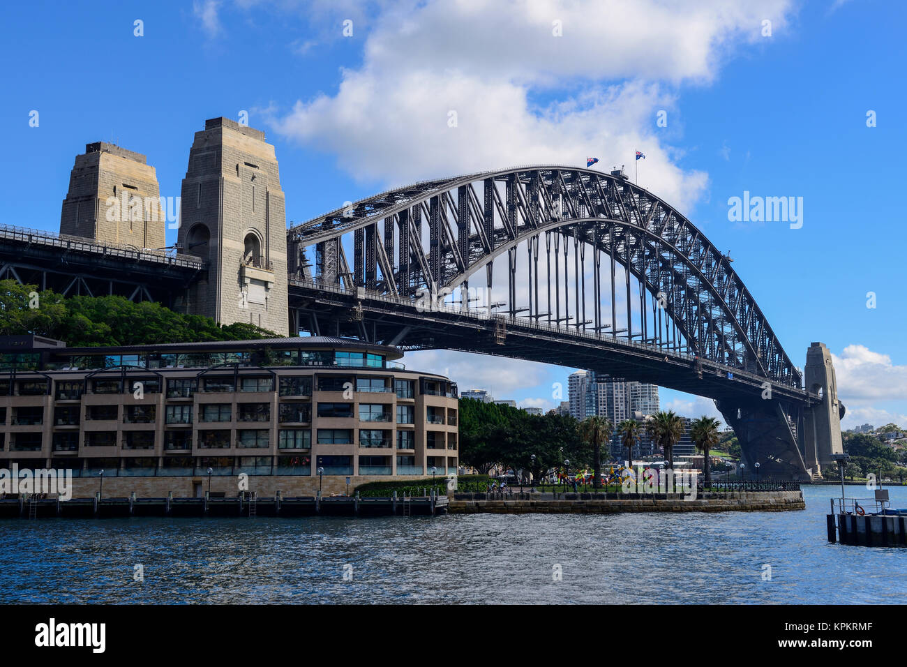 Sydney Harbour Bridge looking across Campbell's Cove, The Rocks, Sydney, New South Wales, Australia - Stock Image