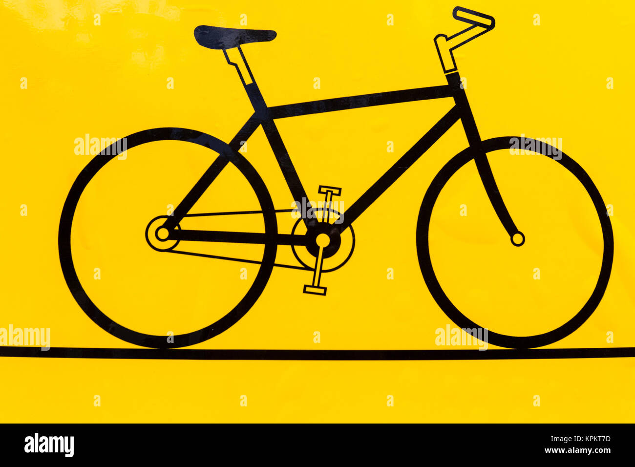 Bicycle outline icon, modern minimal flat design style, black bike on yellow background photo - Stock Image