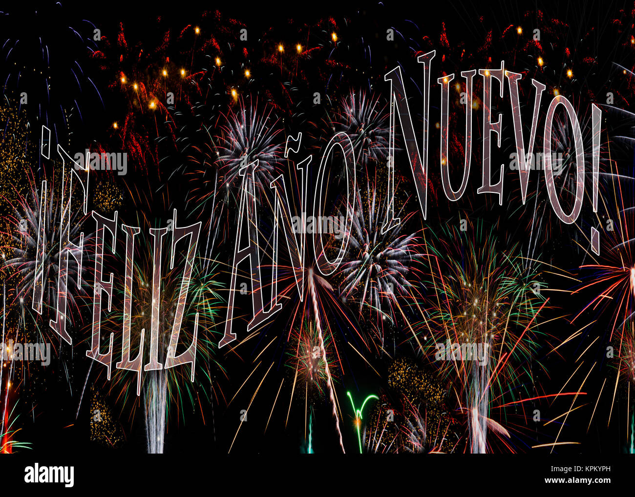 ¡Feliz Año Nuevo! Fireworks 2018  Happy New Year in Spanish. Concept available with year 2018 behind see - Stock Image