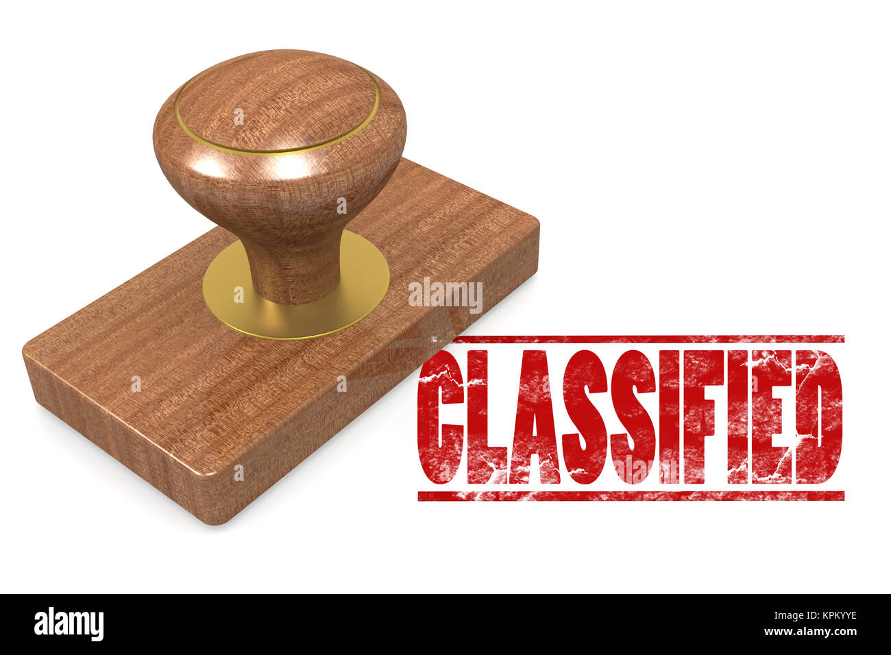 Classified wooded seal stamp - Stock Image