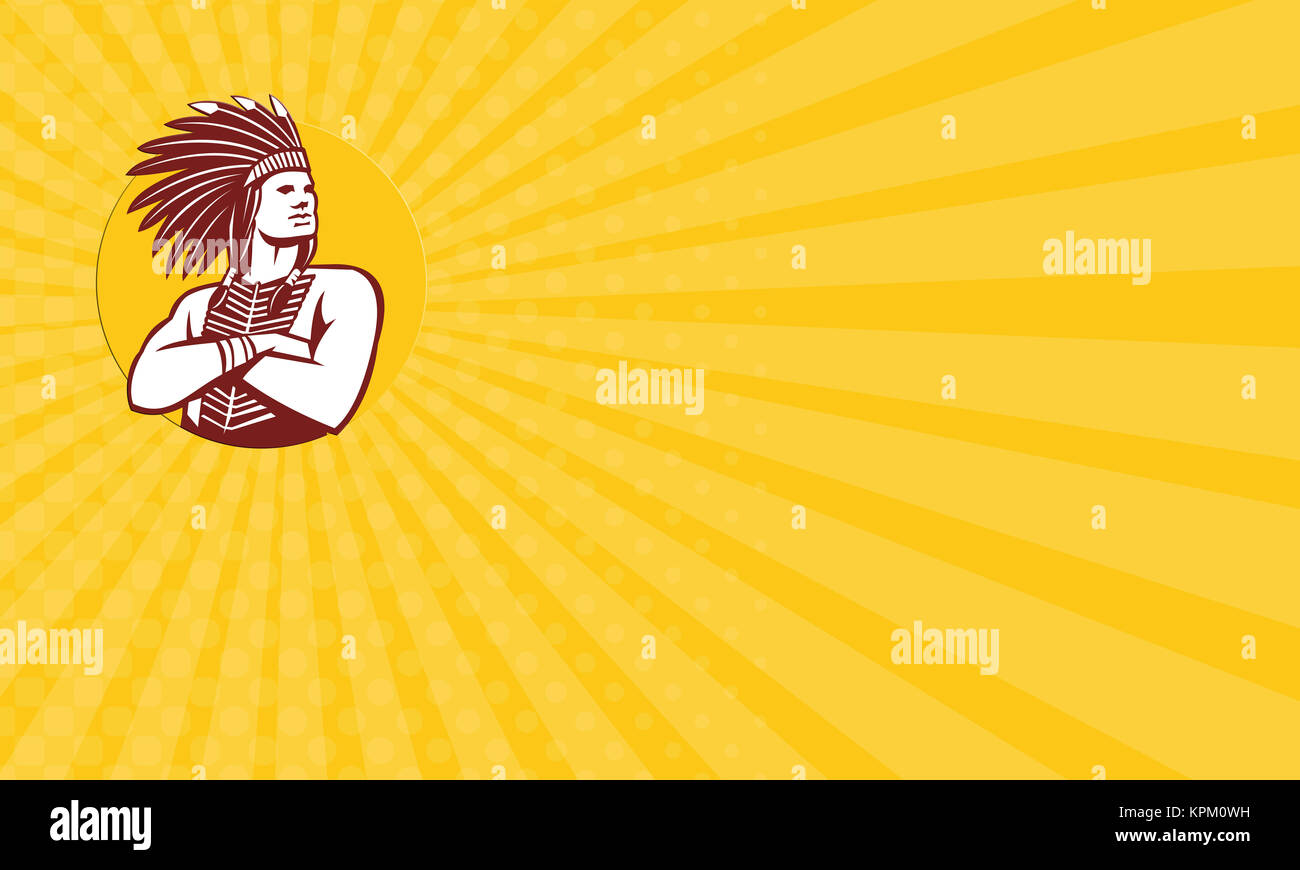 Business card Native American Indian Chief Warrior Circle Retro - Stock Image