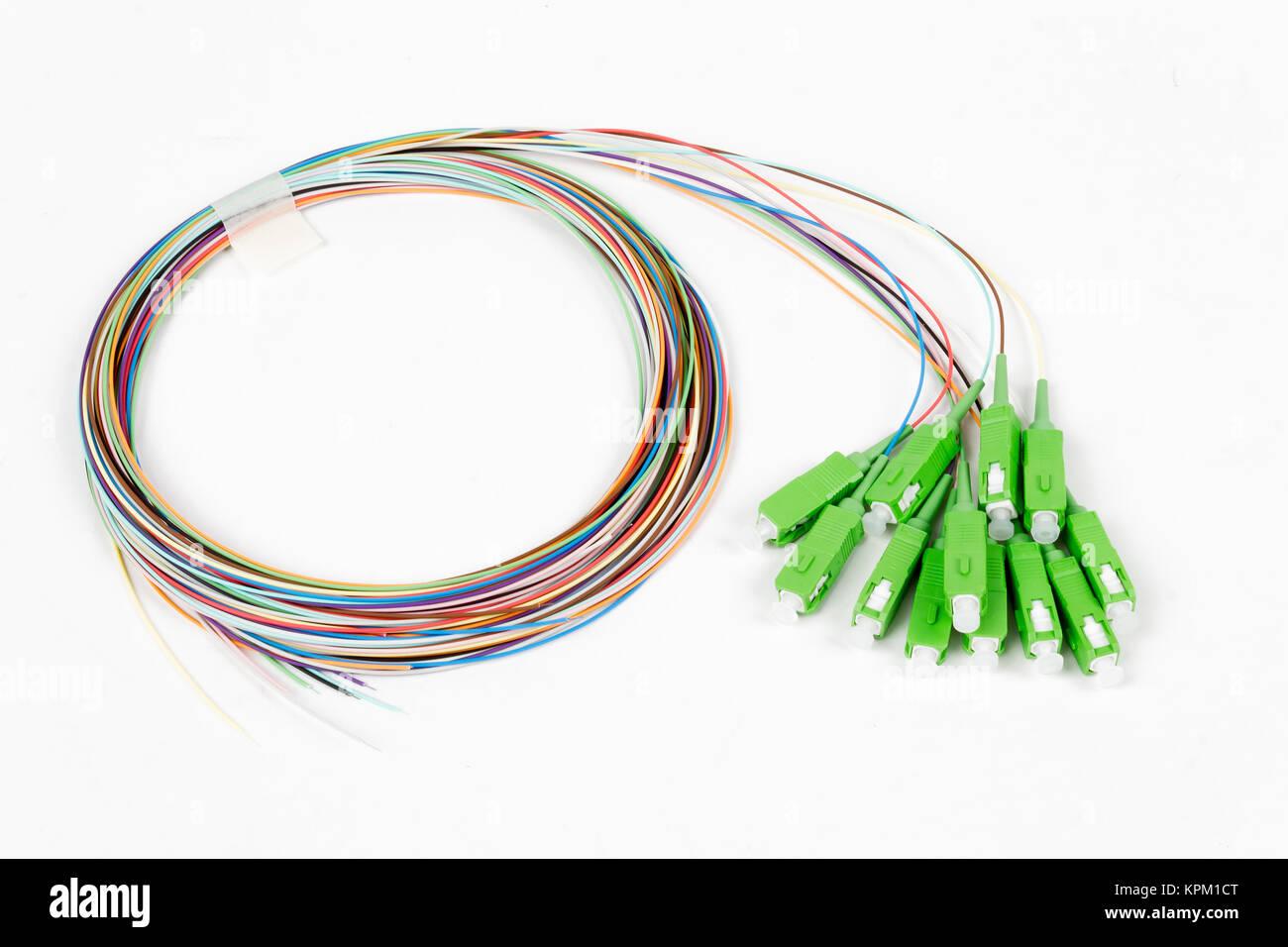 green fiber optic SC connectors - Stock Image