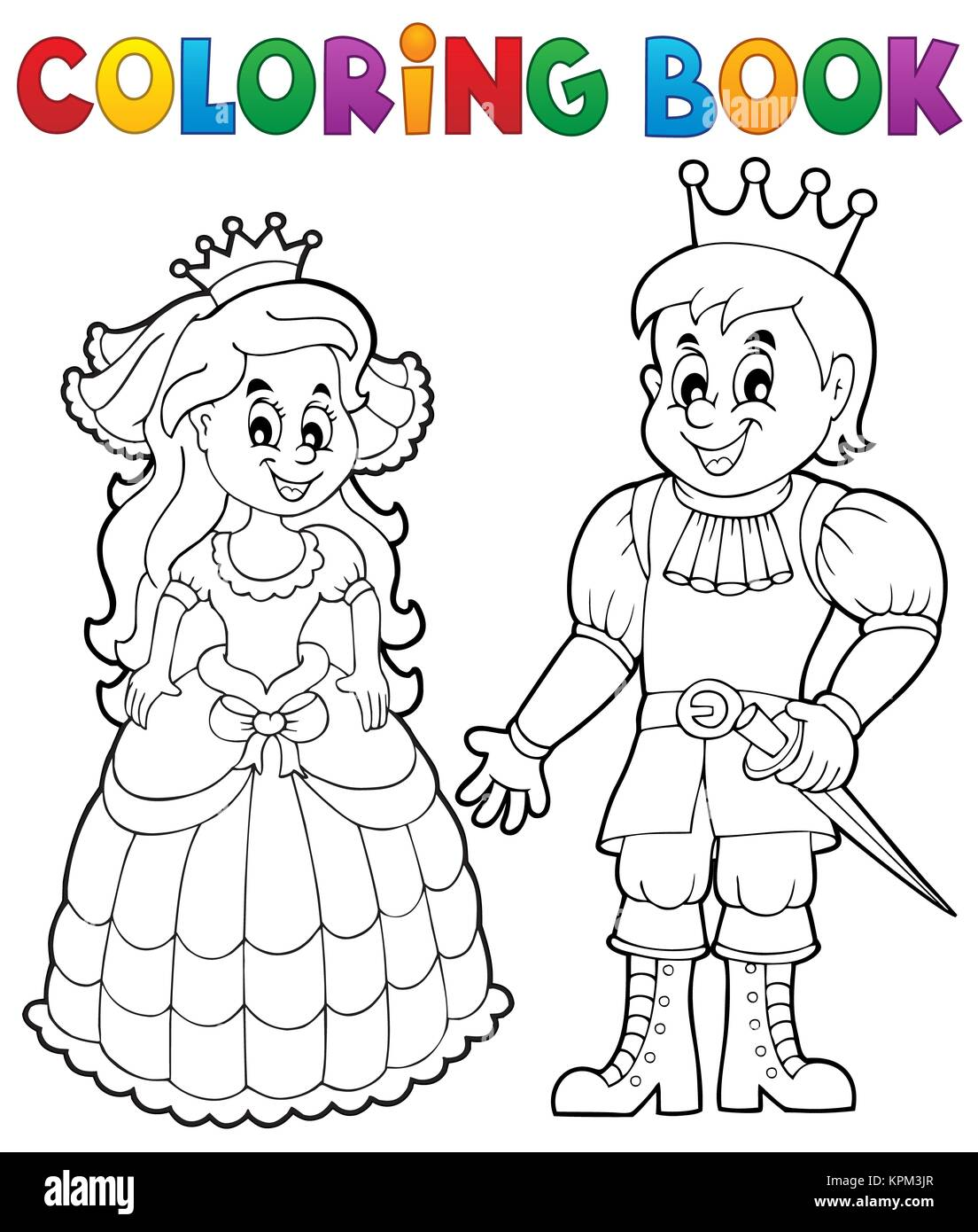 Coloring Book Princess And Prince Stock Photo Alamy