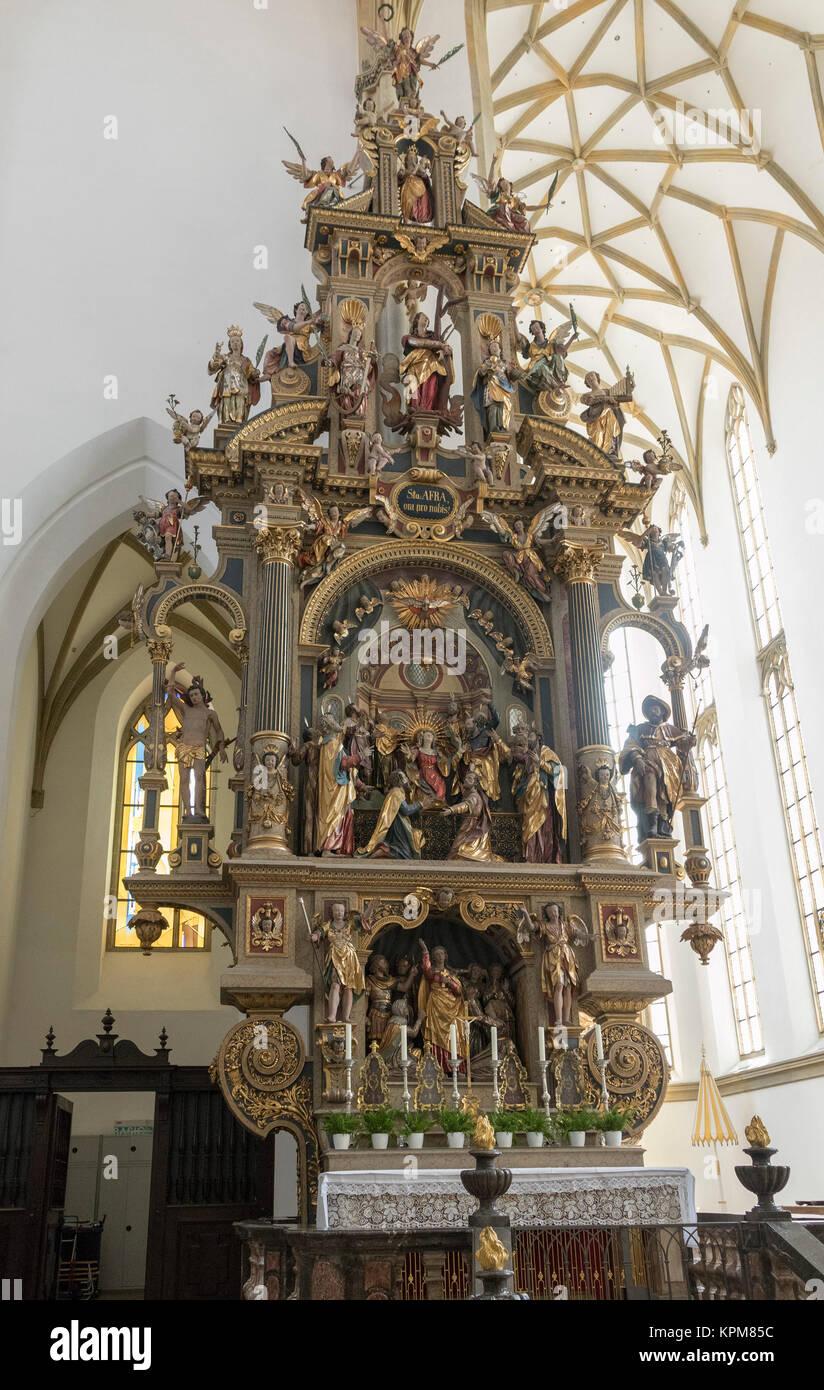 Pentecost, north altar by Johannes Degler, 1604-7, basilica of Saints Ulrich and Afra, Augsburg, Bavaria, Germany - Stock Image
