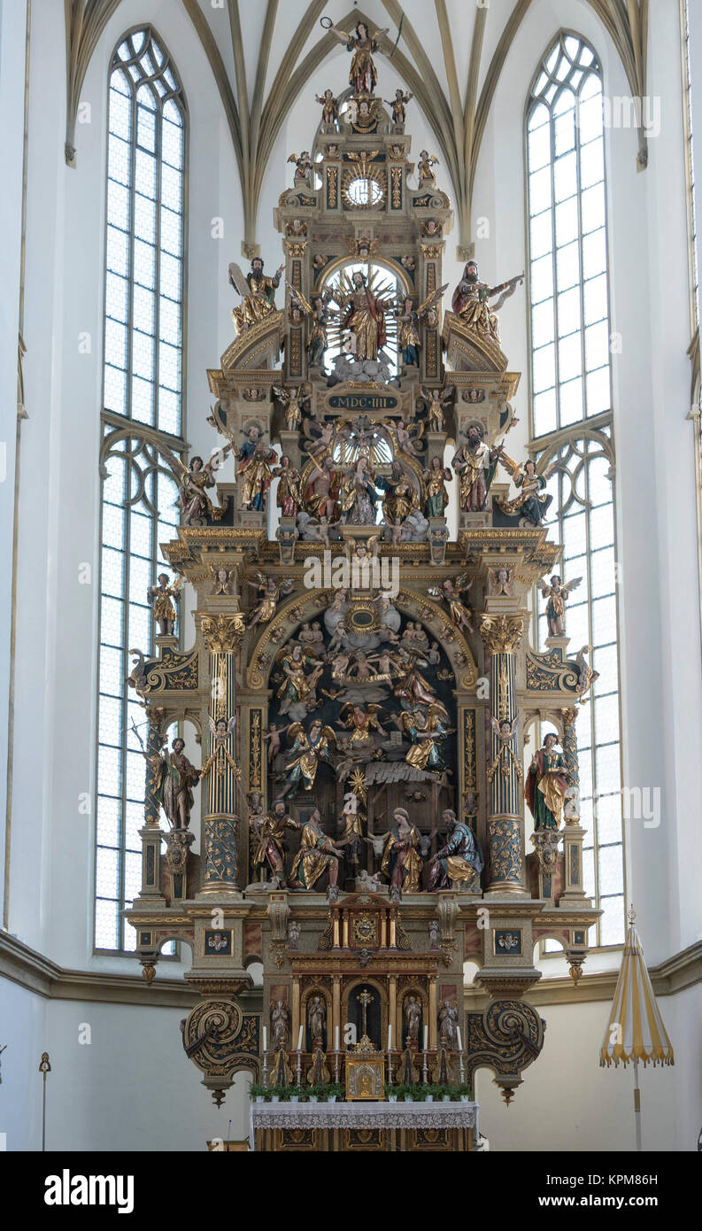 Adoration of the Sheperds, main altar by Johannes Degler, 1604-7, basilica of Saints Ulrich and Afra, Augsburg, - Stock Image