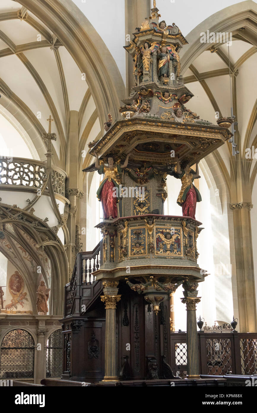 pulpit by Johannes Degler, 17th century, Basilica of St. Ulrich and Afra, Augsburg, Bavaria, Germany - Stock Image