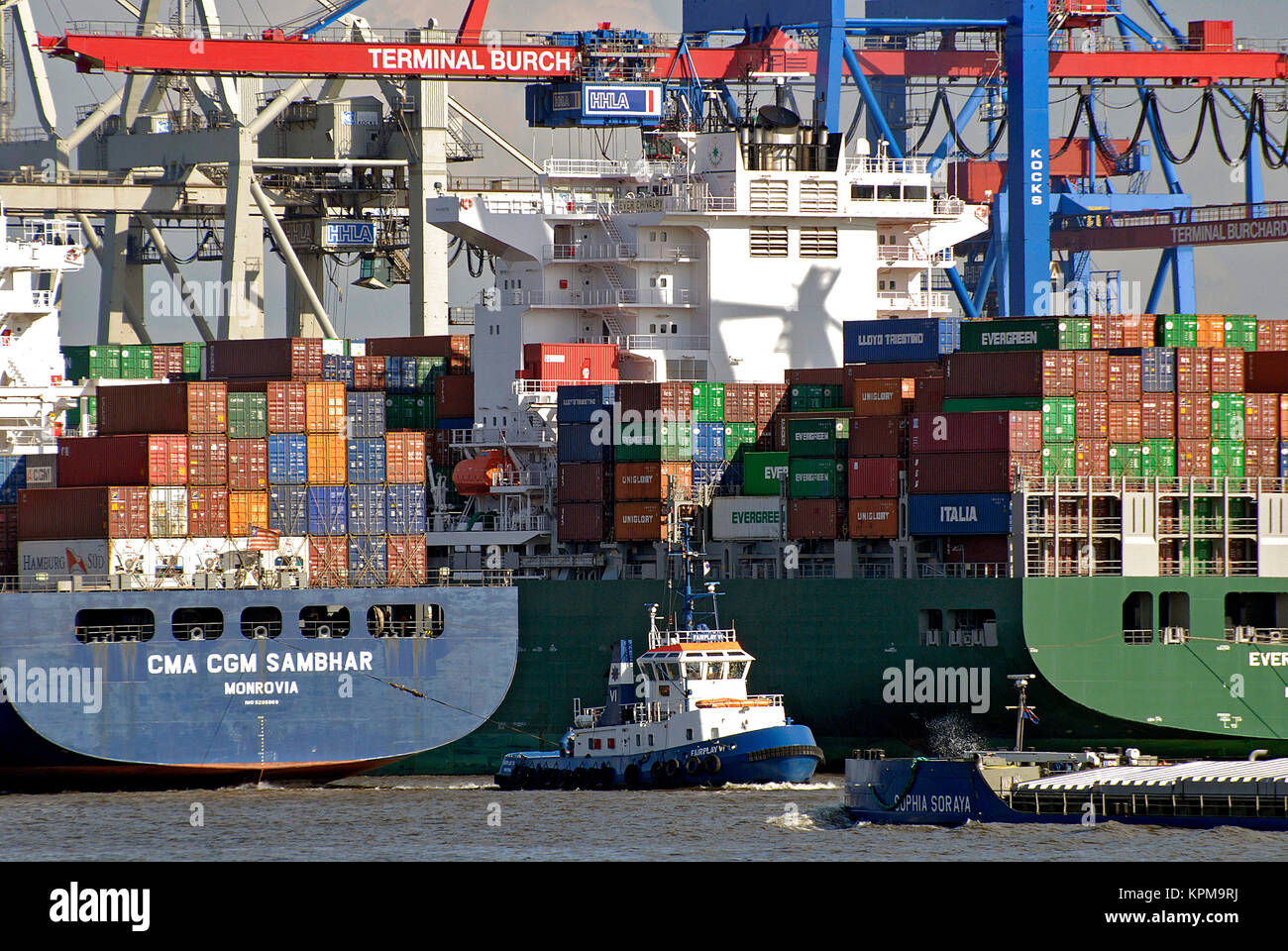 Hamburg, one of the most beautiful and most popular tourist destinations in the world. Container Terminal Burchardkai, - Stock Image