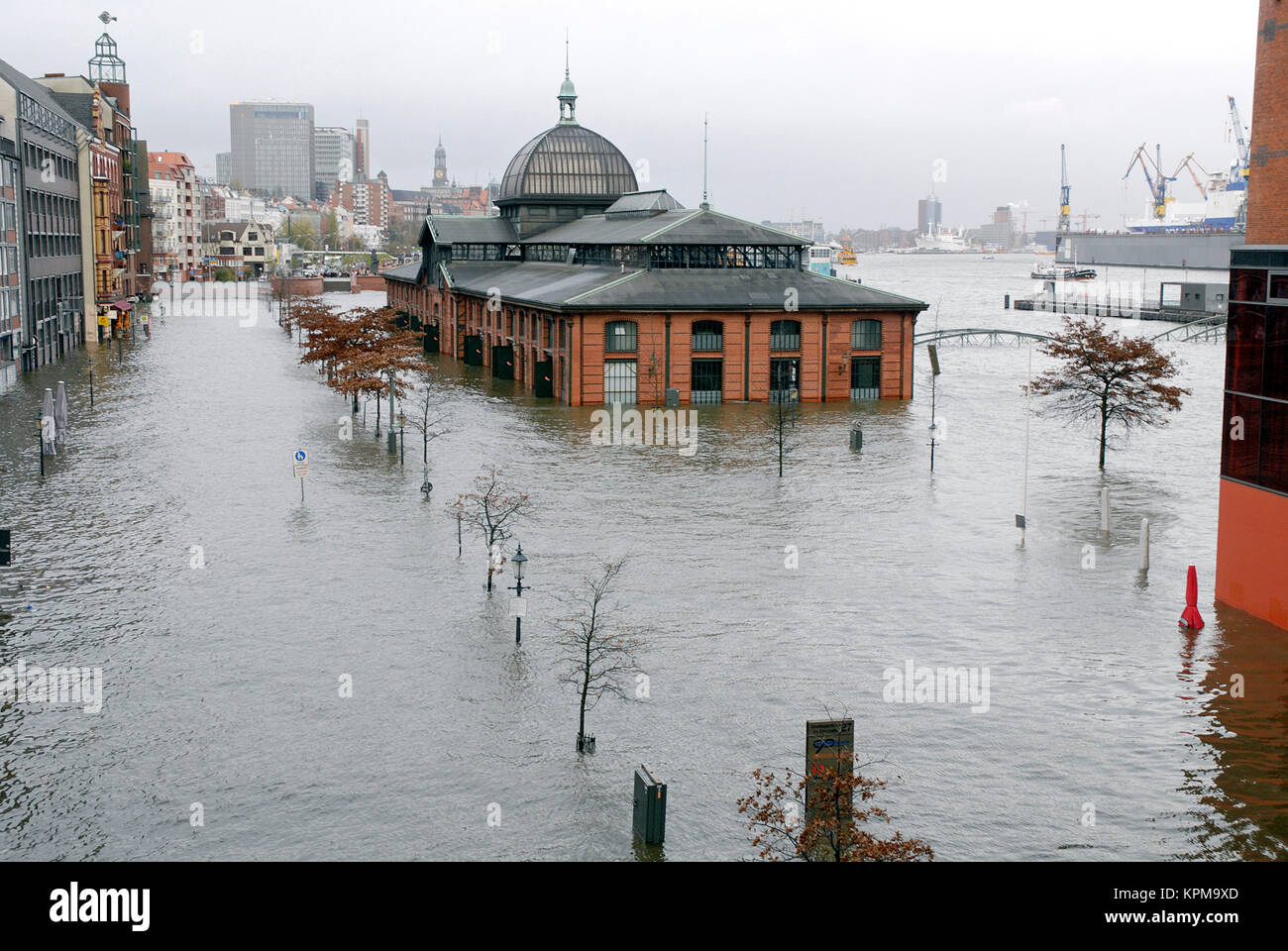 Hamburg, one of the most beautiful and most popular tourist destinations in the world. Flooding at the Hamburg Fish Stock Photo