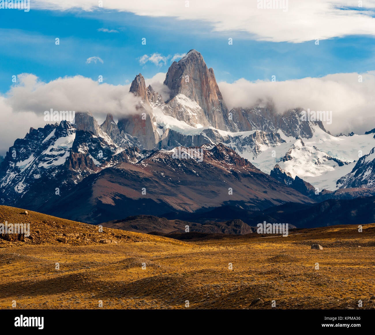 Fitz Roy Mountain, El Chalten, Patagonia, Glaciers National Park Argentina. - Stock Image