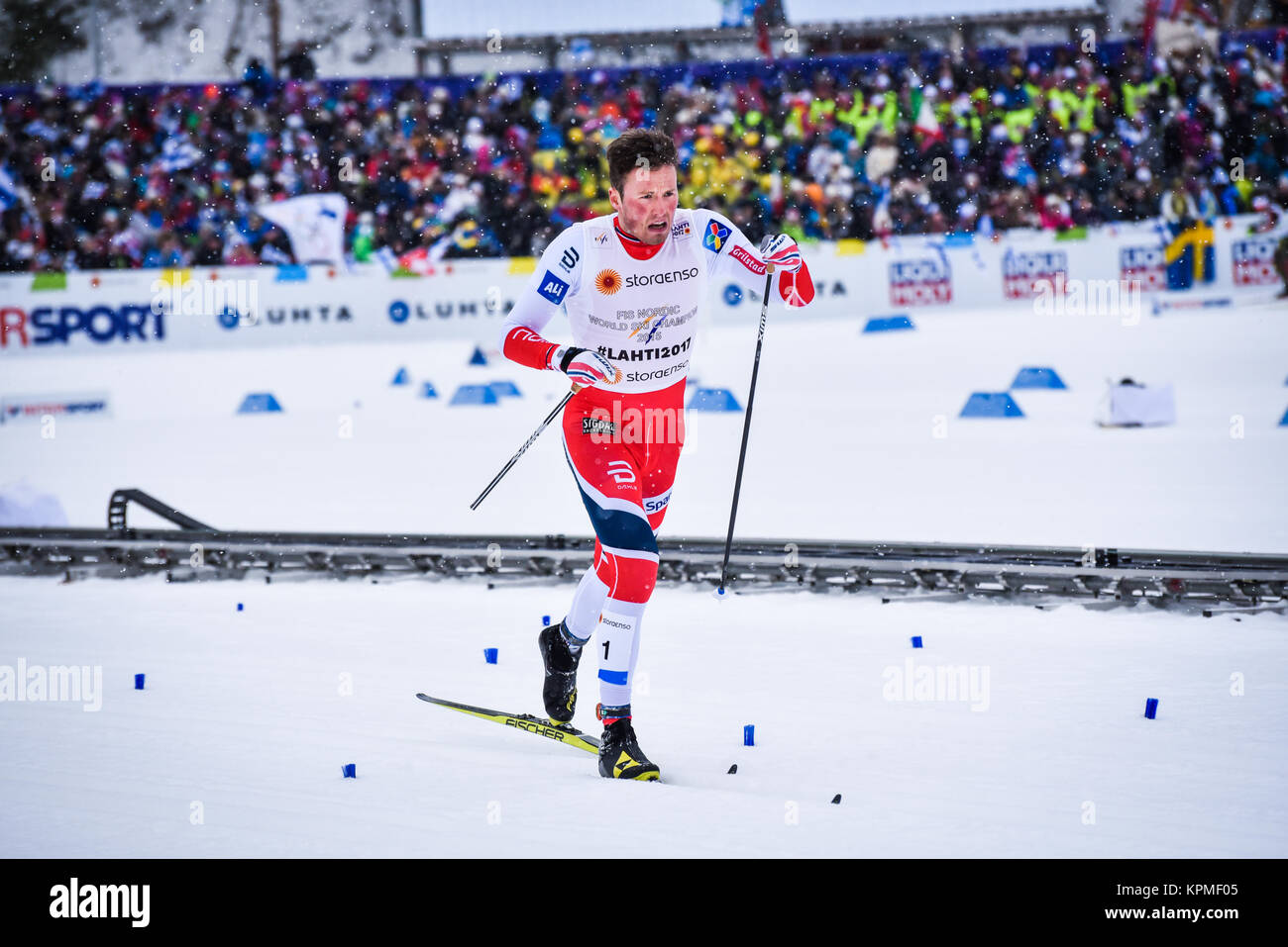 Anguished Norway's Emil Iversen struggles to team sprint finish 4th with broken pole in the 2017 FIS World Championships - Stock Image