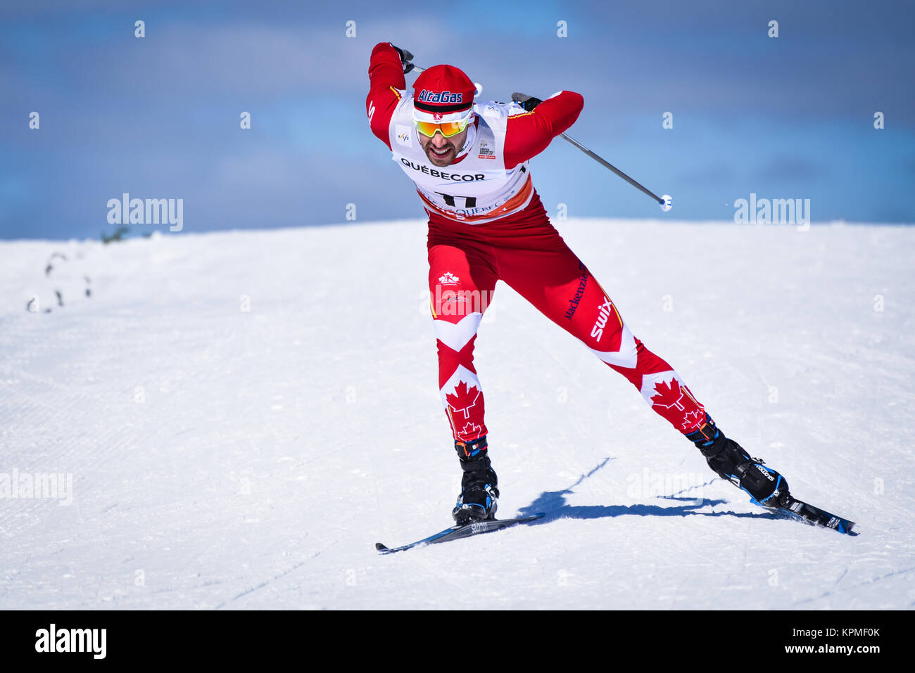 Canadian ski team's Alex Harvey (Quebec) skis in qualifiers at 2017 FIS Nordic World Cup sprint finals in Quebec - Stock Image