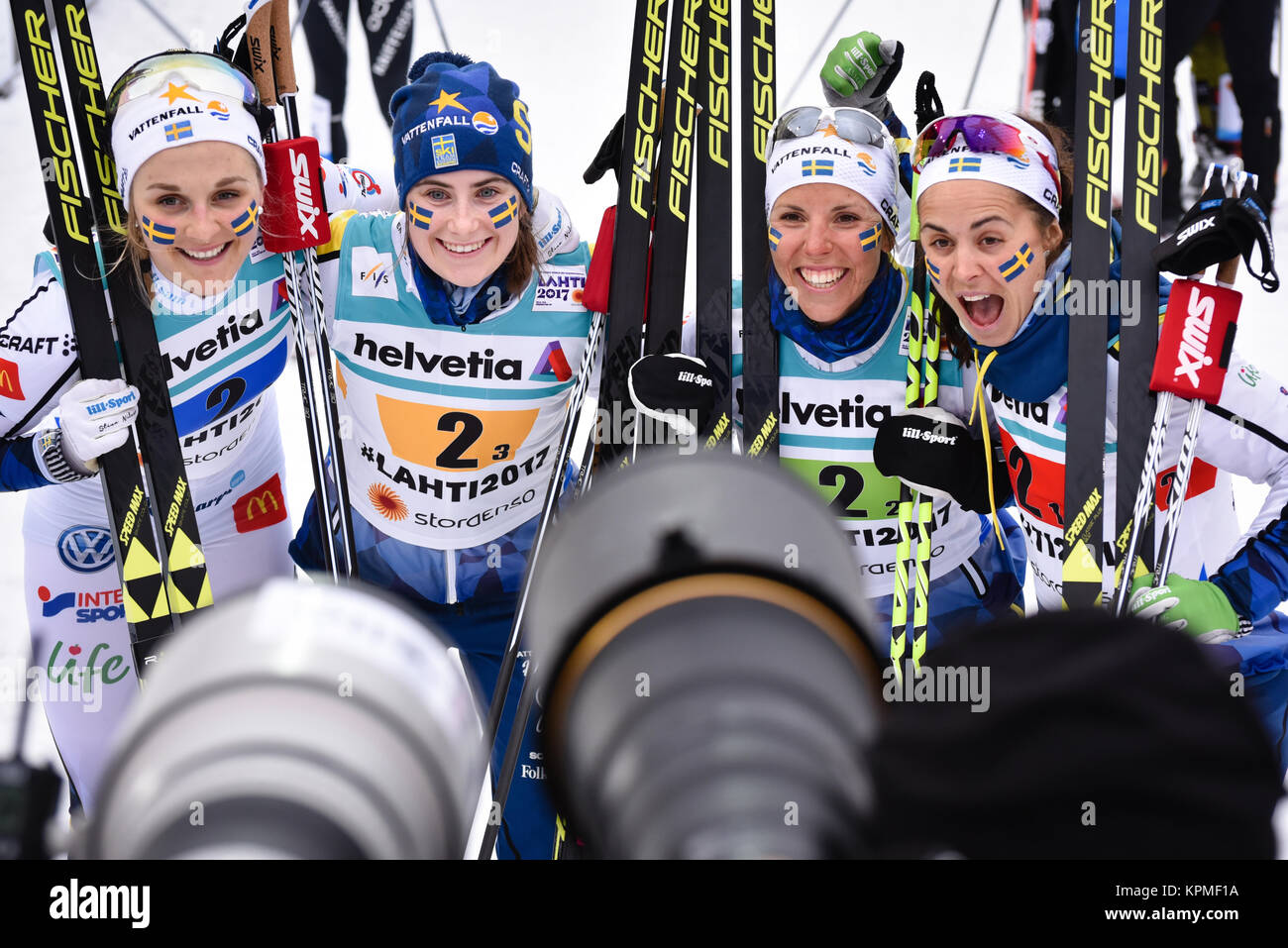 Sweden's relay team celebrates after finishing second in women's 4 x 5 k relay at the 2017 World Nordic Ski Championships, - Stock Image