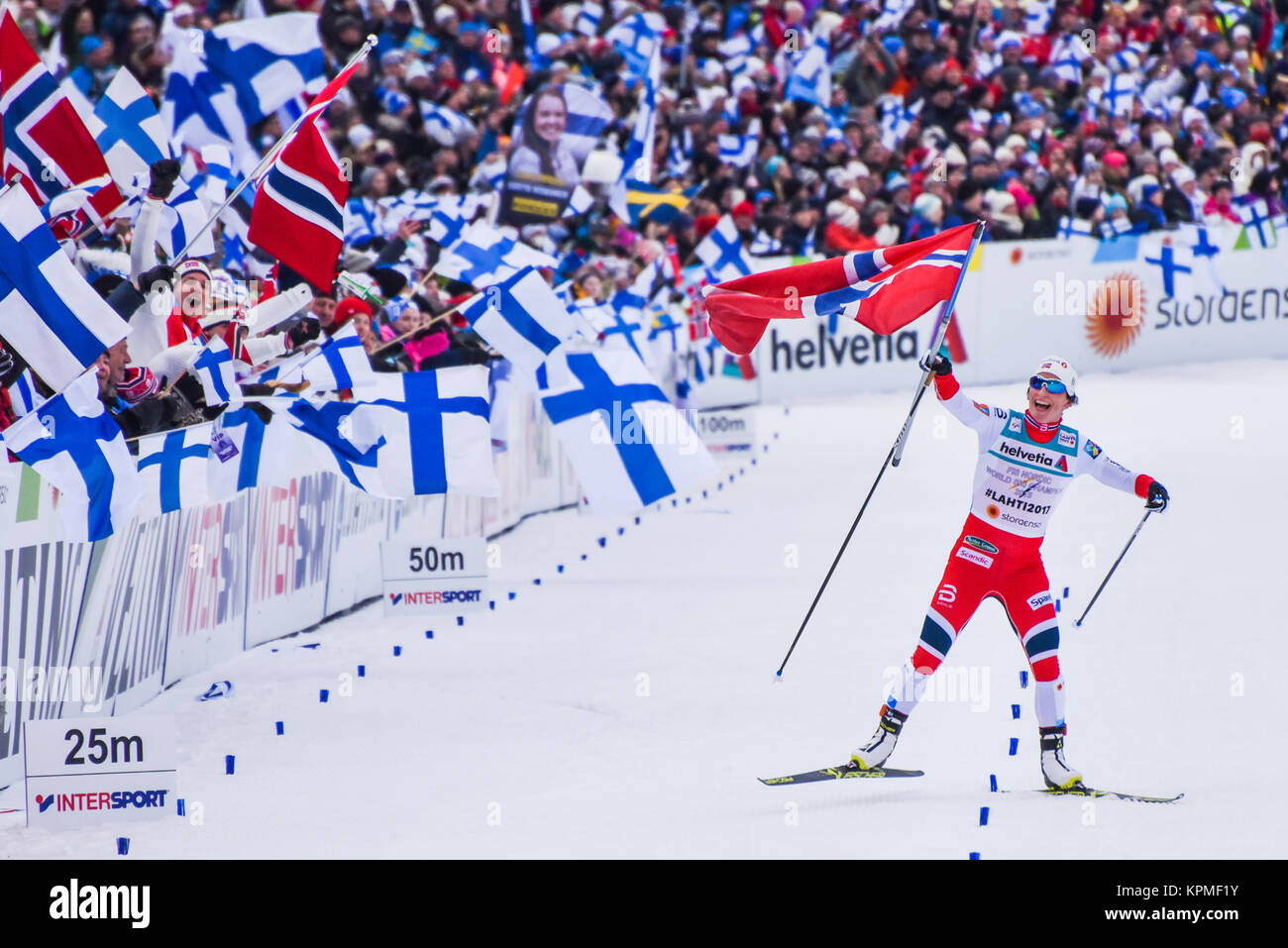 Norway's Marit Bjorgen celebrates after Norway won women's relay, 2017 World Nordic Ski Championships, Lahti, - Stock Image