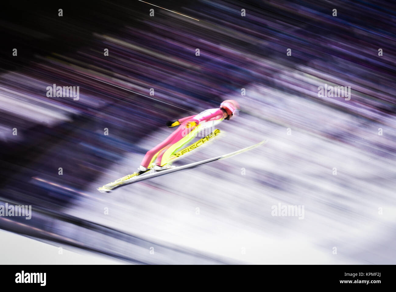 Nordic combined ski jumper flying through the air during practice at the 2017 FIS World Nordic Ski Championships, - Stock Image