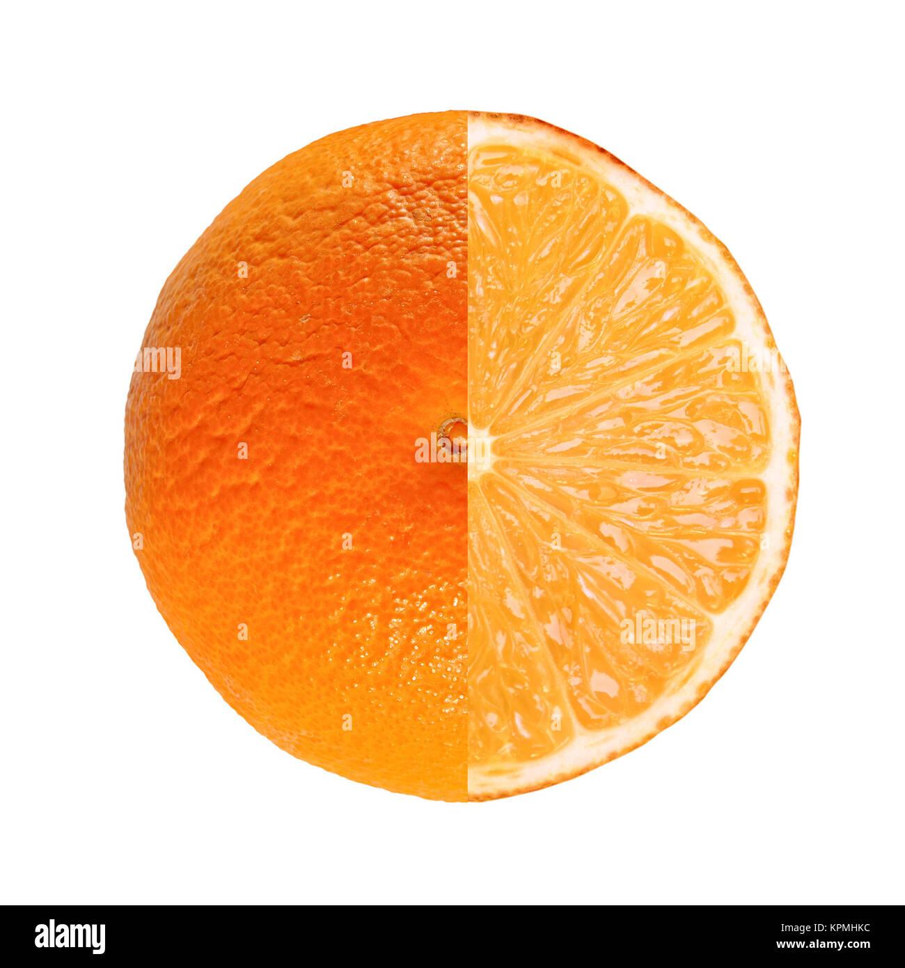 Orange fruit full and sliced Stock Photo