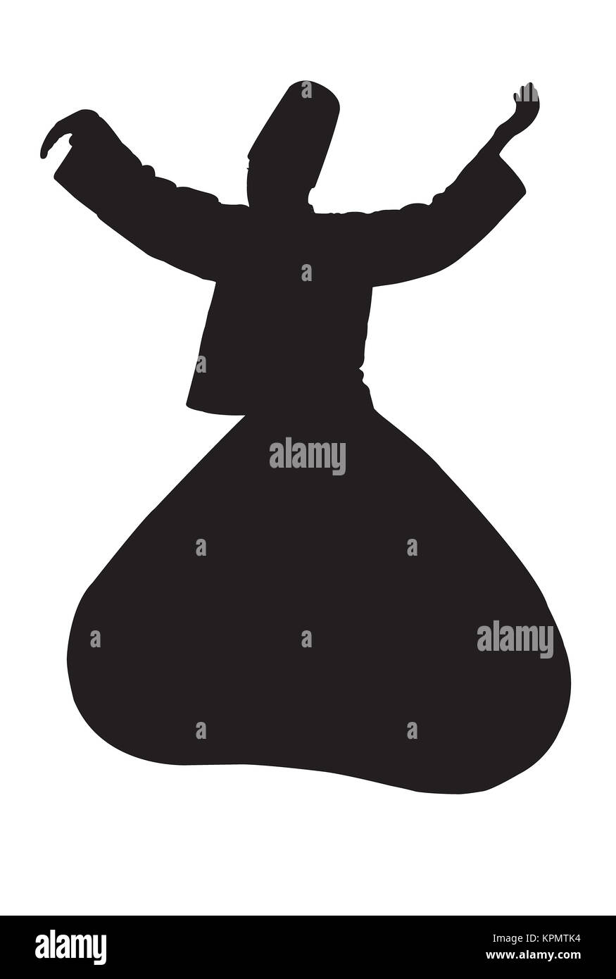 whirling dervish silhouette - Stock Image