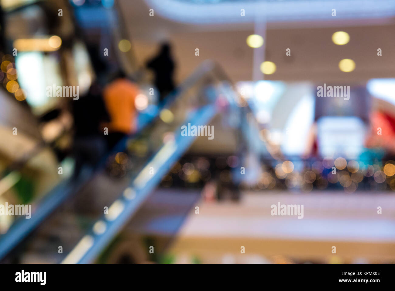 Blurred shopping mall staircase background - Stock Image