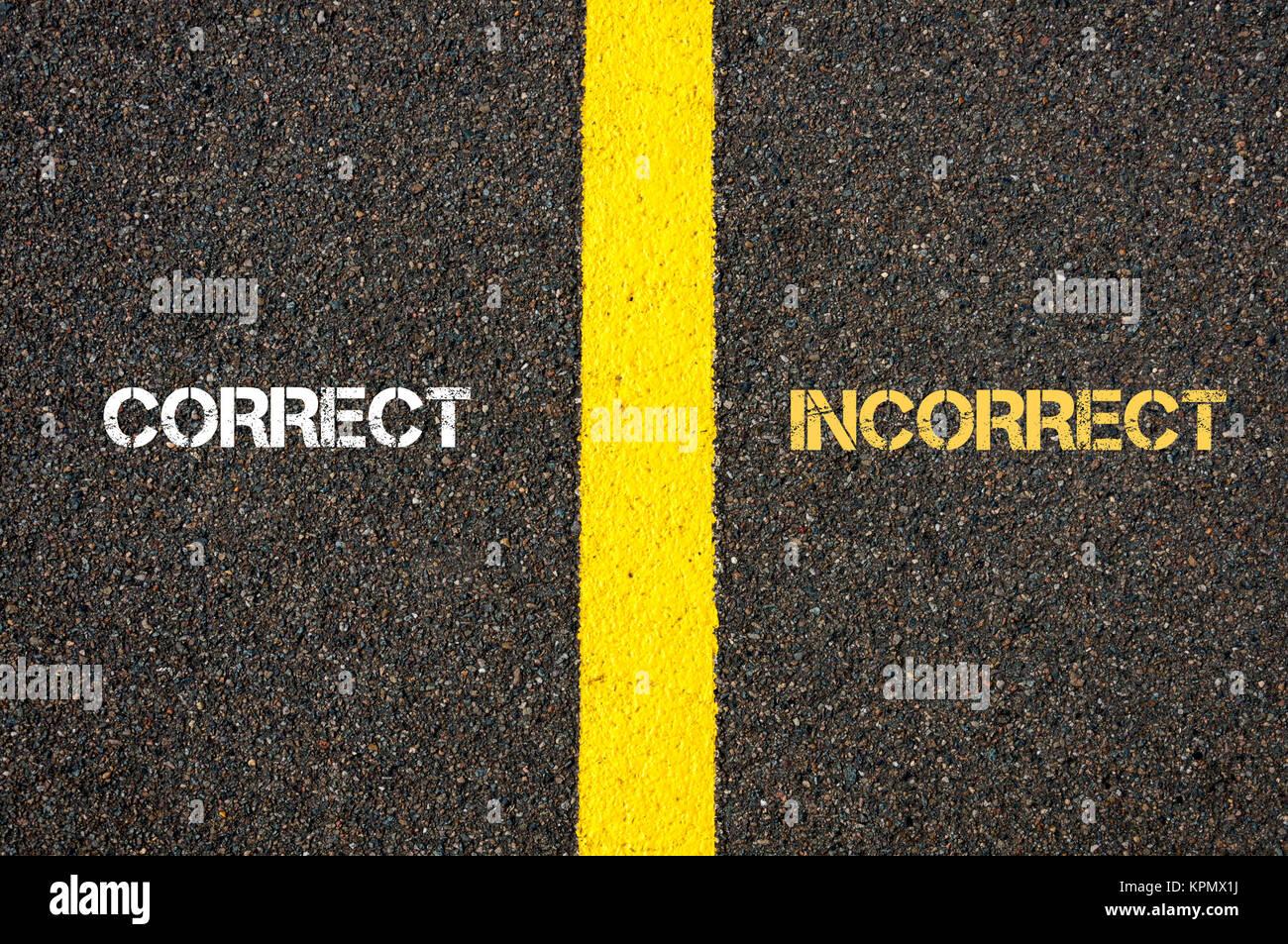 Antonym concept of CORRECT versus INCORRECT - Stock Image