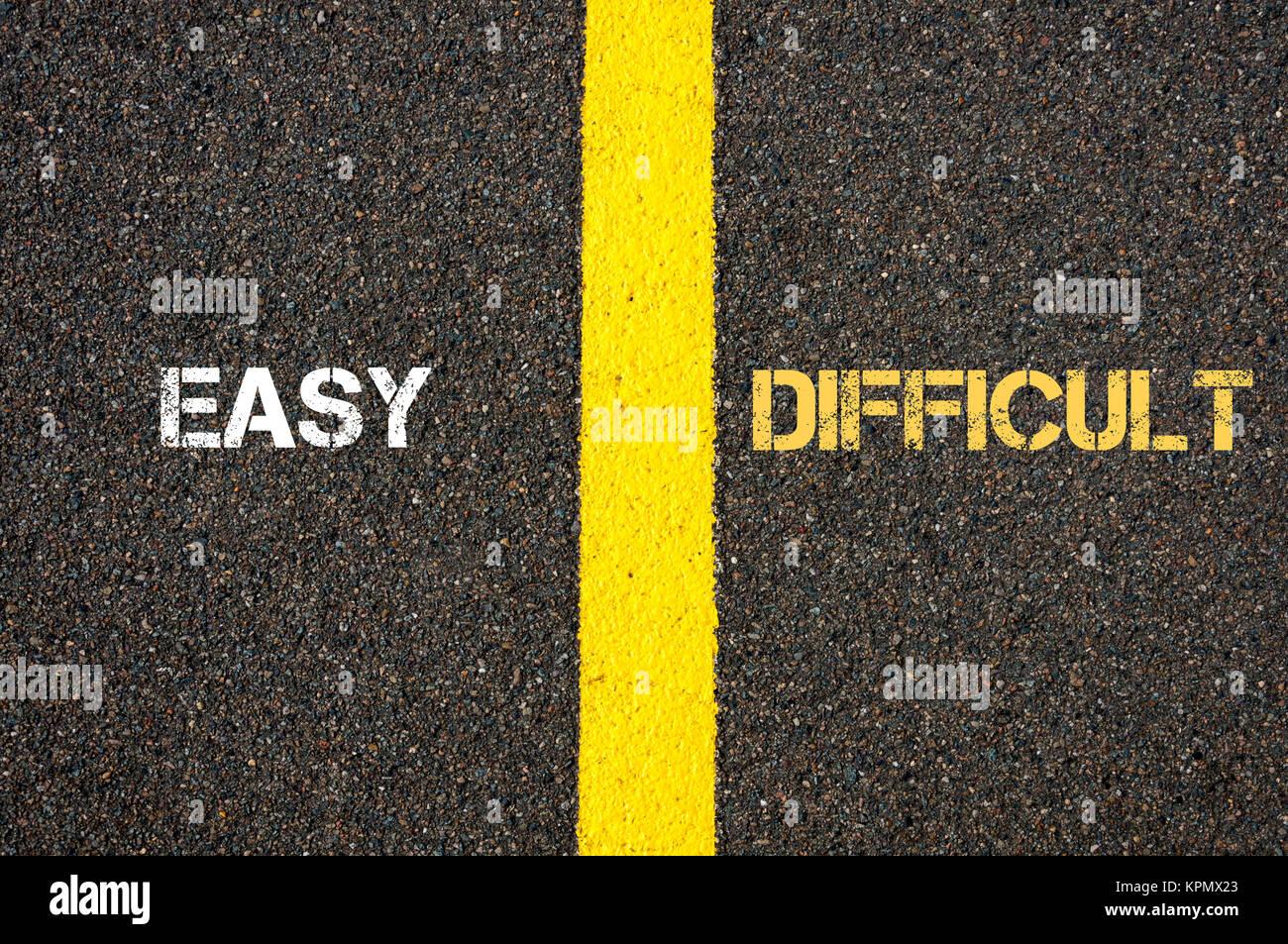 Antonym concept of EASY versus DIFFICULT - Stock Image