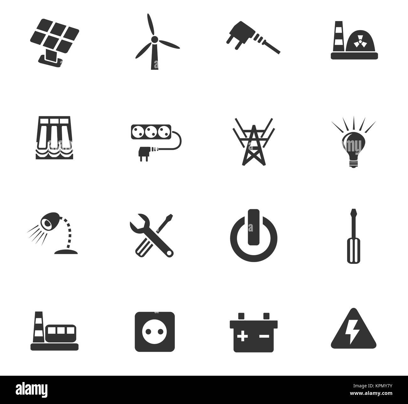 electricity icon set - Stock Image