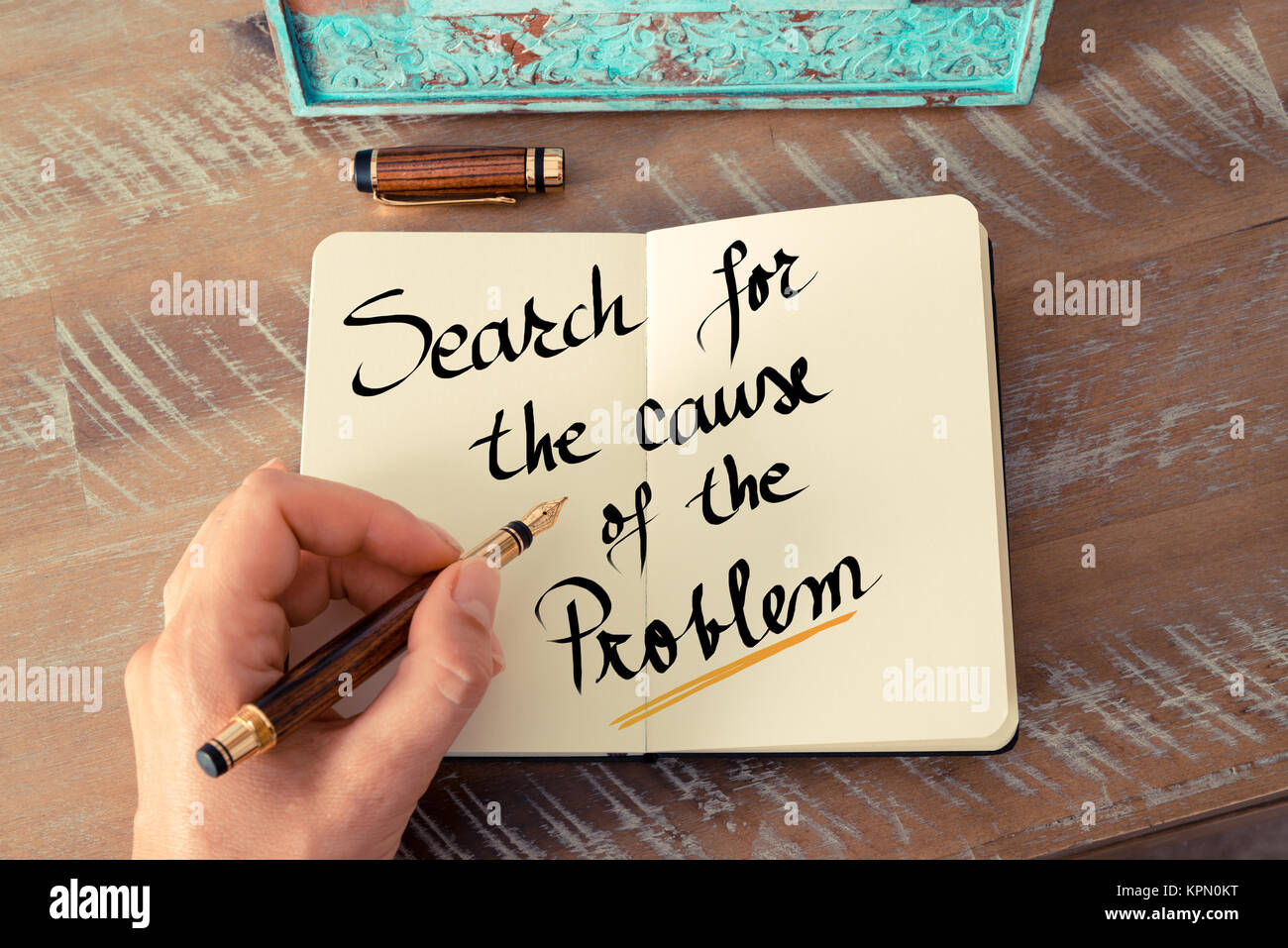 Written text Search For The Cause Of The Problem Stock Photo