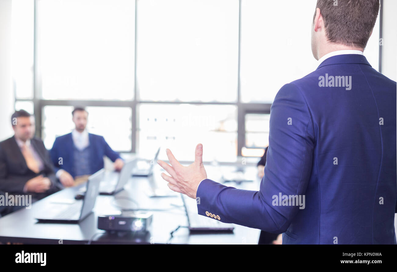 Business presentation on corporate meeting. - Stock Image