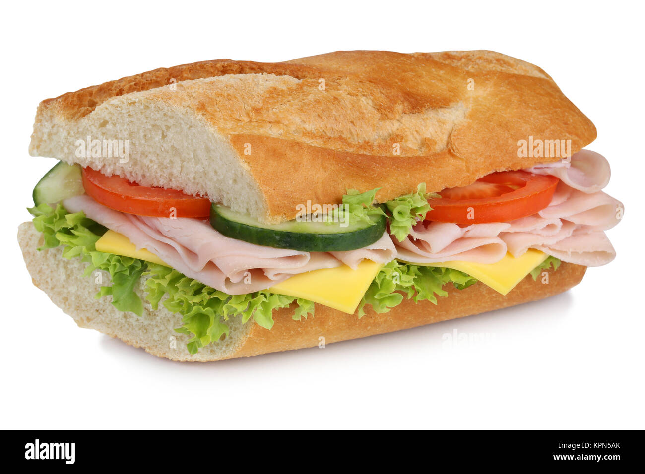 topped baguette for breakfast with ham cut Stock Photo