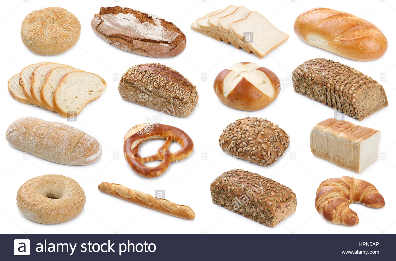 Collection Various Types Of Bread Loaves Pastry Buns Cutout Cutouts Cut Isolated