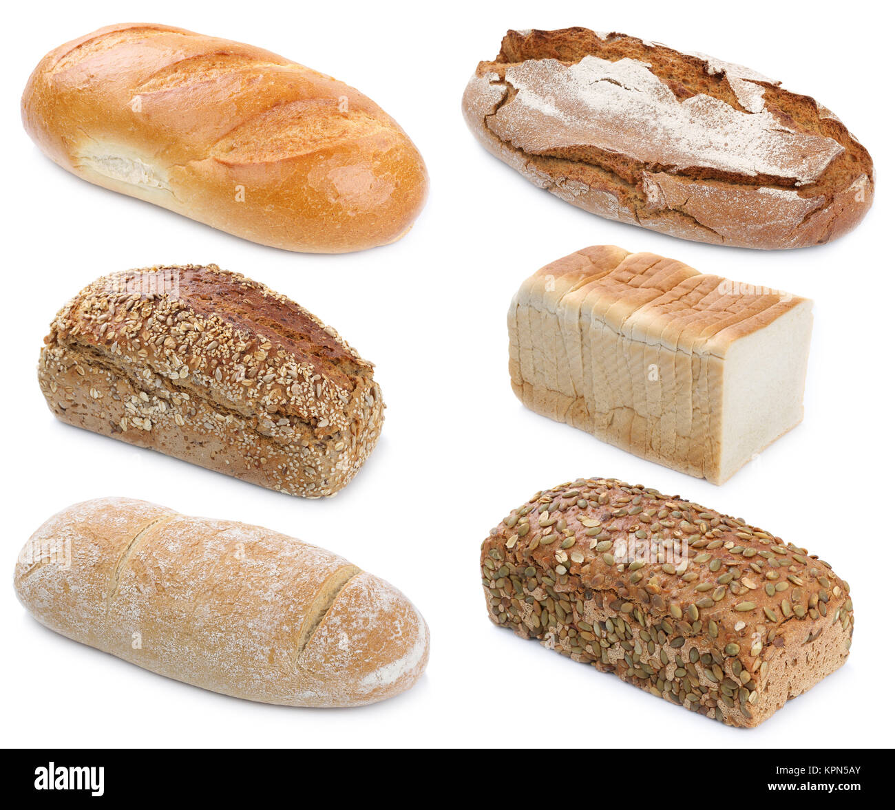 Collection Various Types Of Bread Loaves Wholemeal Multigrain Cut Exempted Isolated