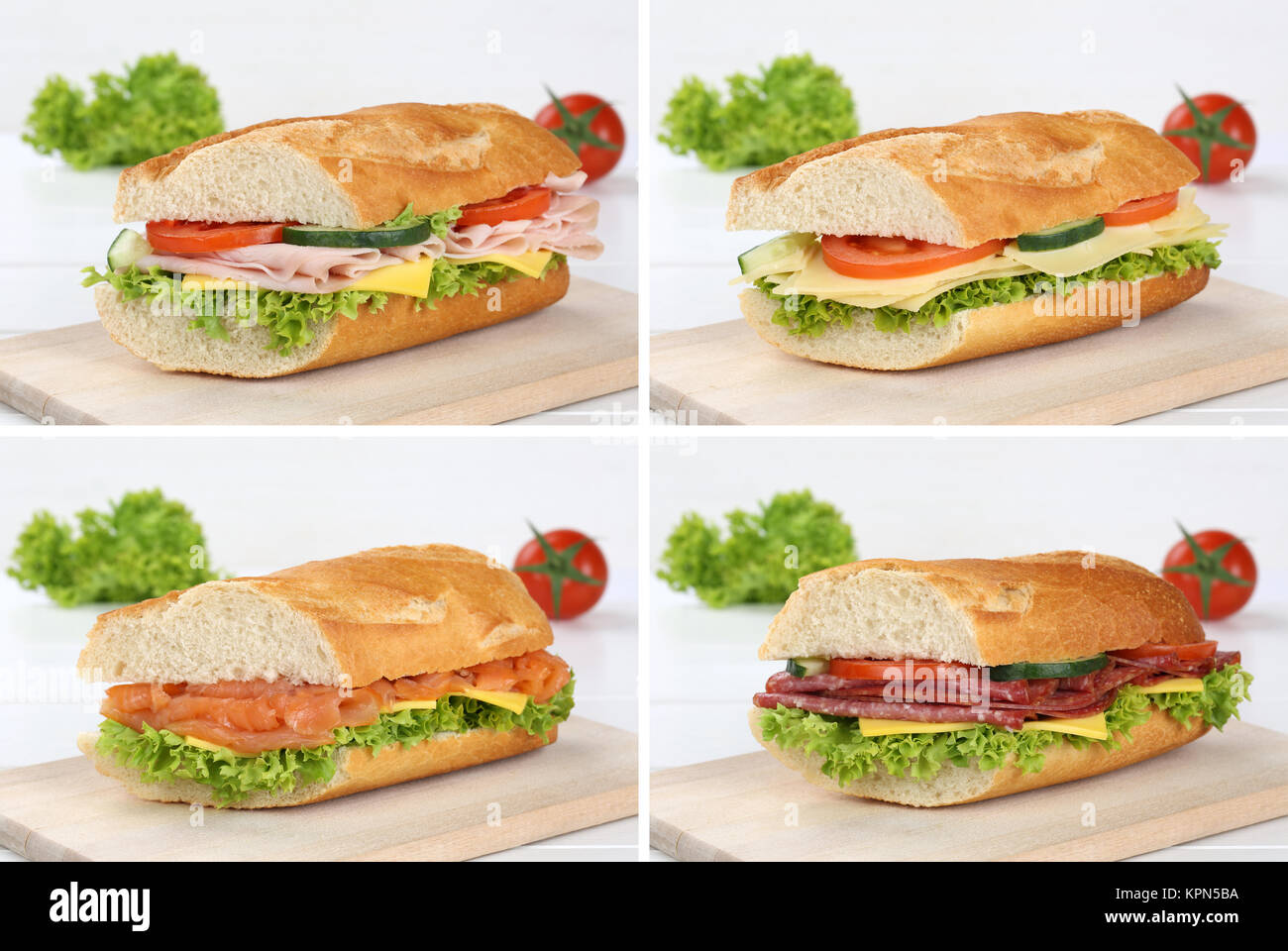 collage of sandwiches salami ham fish and cheese Stock Photo