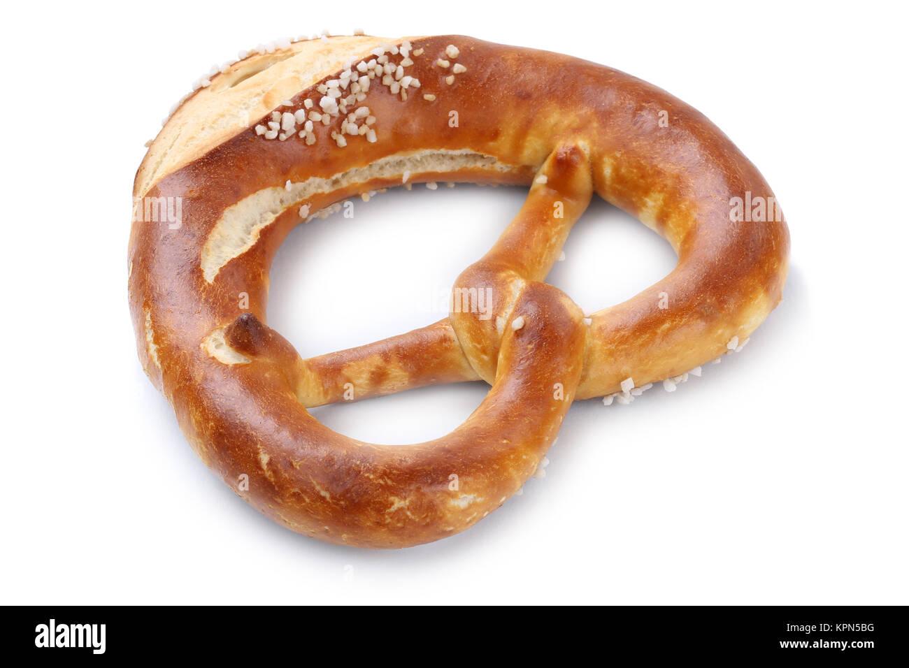 pretzel bretzel exempted isolated for breakfast cut - Stock Image