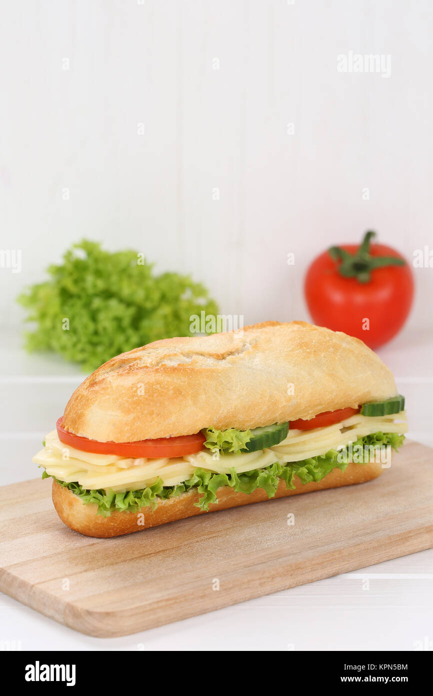 sandwich baguette topped with cheese and copy space Stock Photo