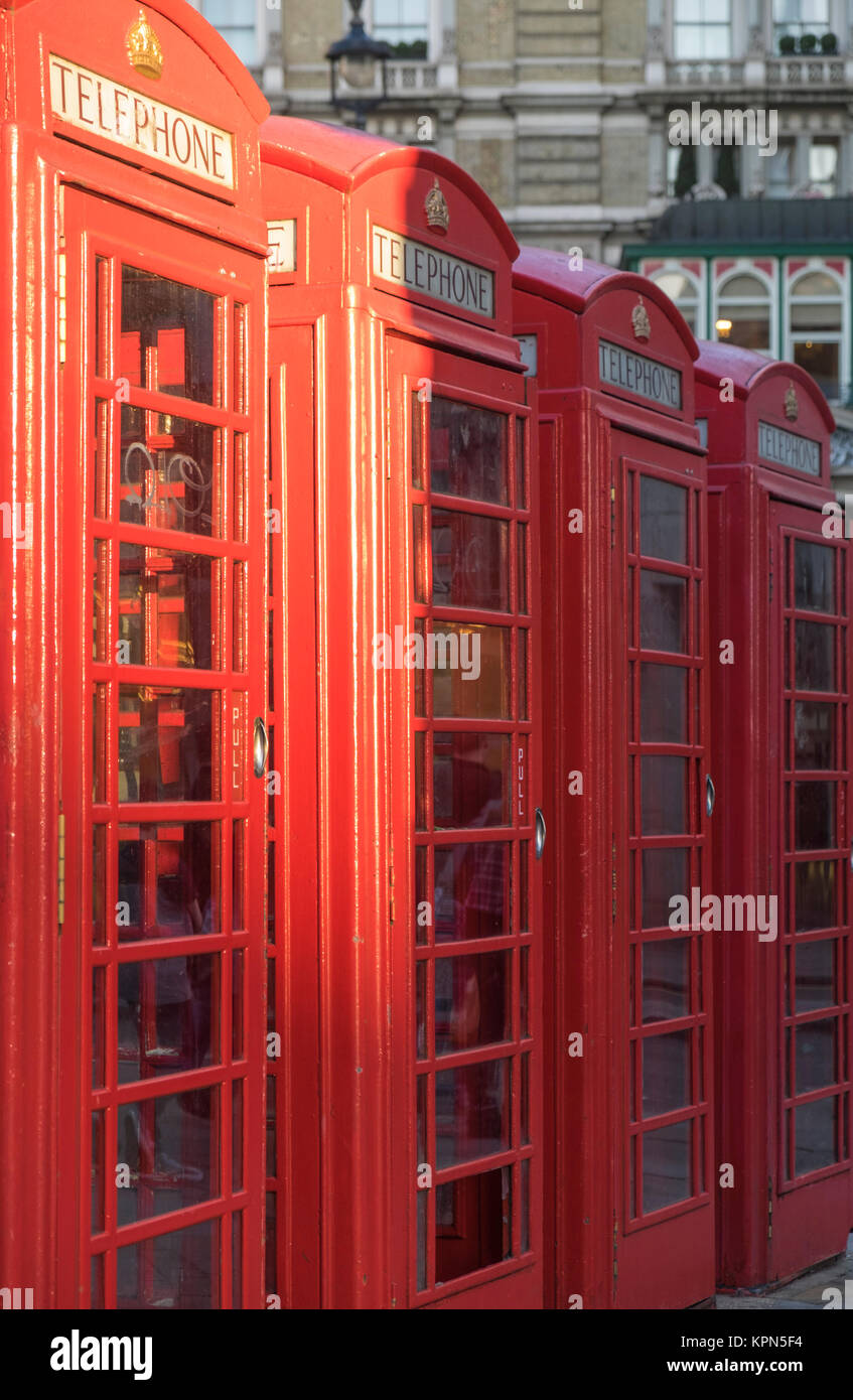 London phone booths in a row - Stock Image