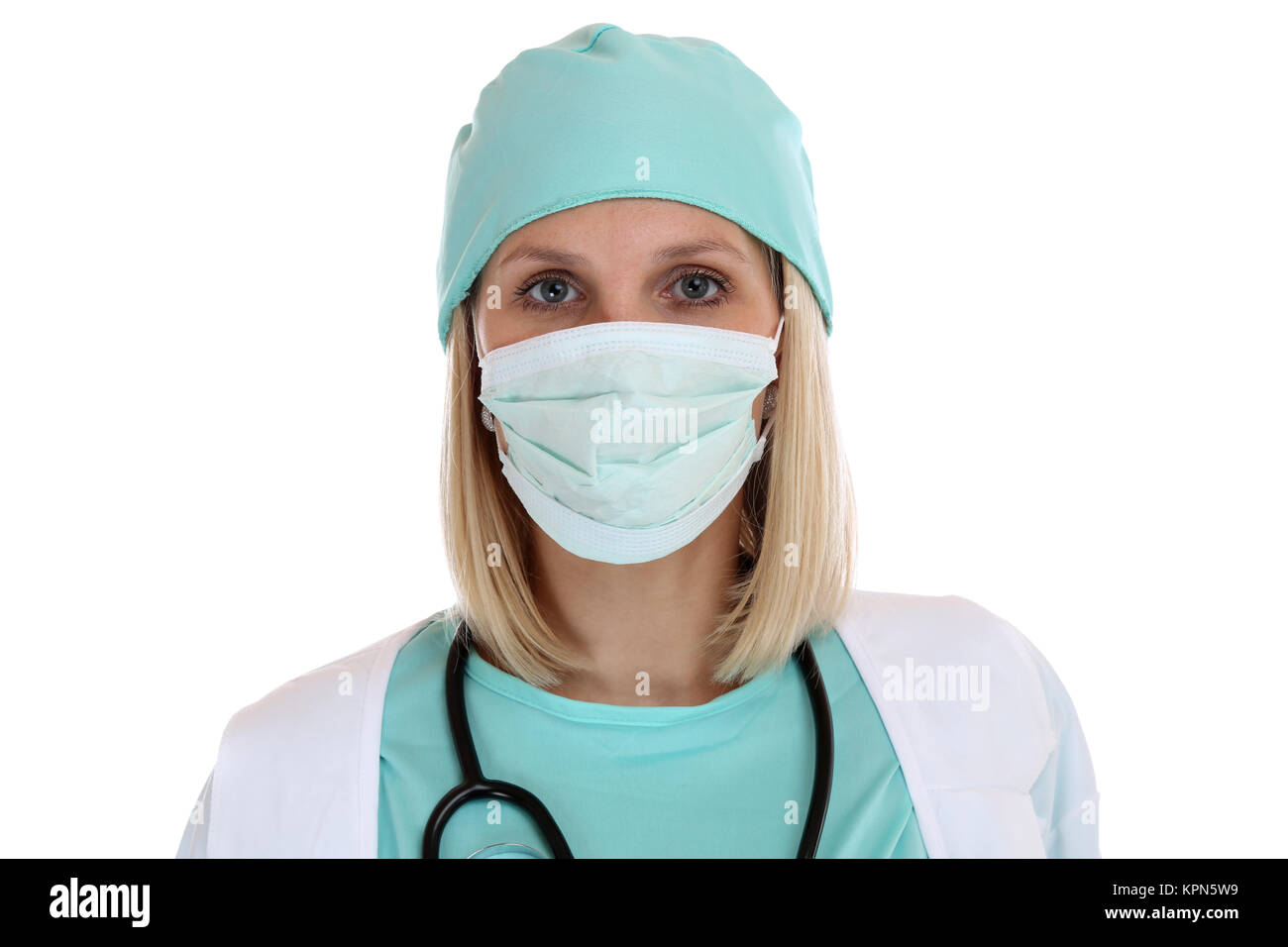 doctor nurse physician doctor portrait with mouth guard professional woman cut - Stock Image