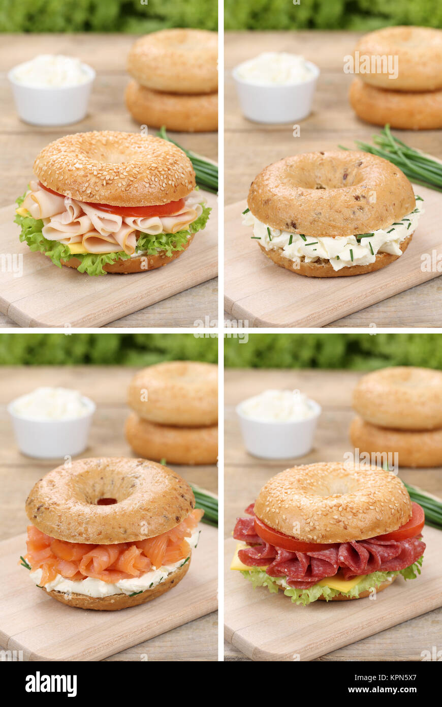 collage of bagels buns for breakfast with ham,salmon and cream cheese - Stock Image