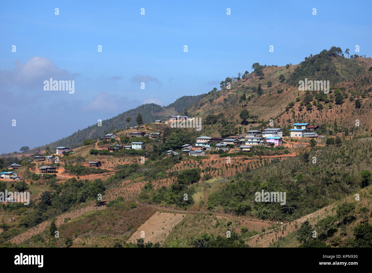 homes and villages in myanmar - Stock Image