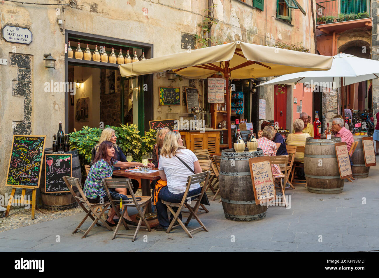 An outdoor restaurant in Monterosso al Mare, Liguria, Italy, Europe. Stock Photo