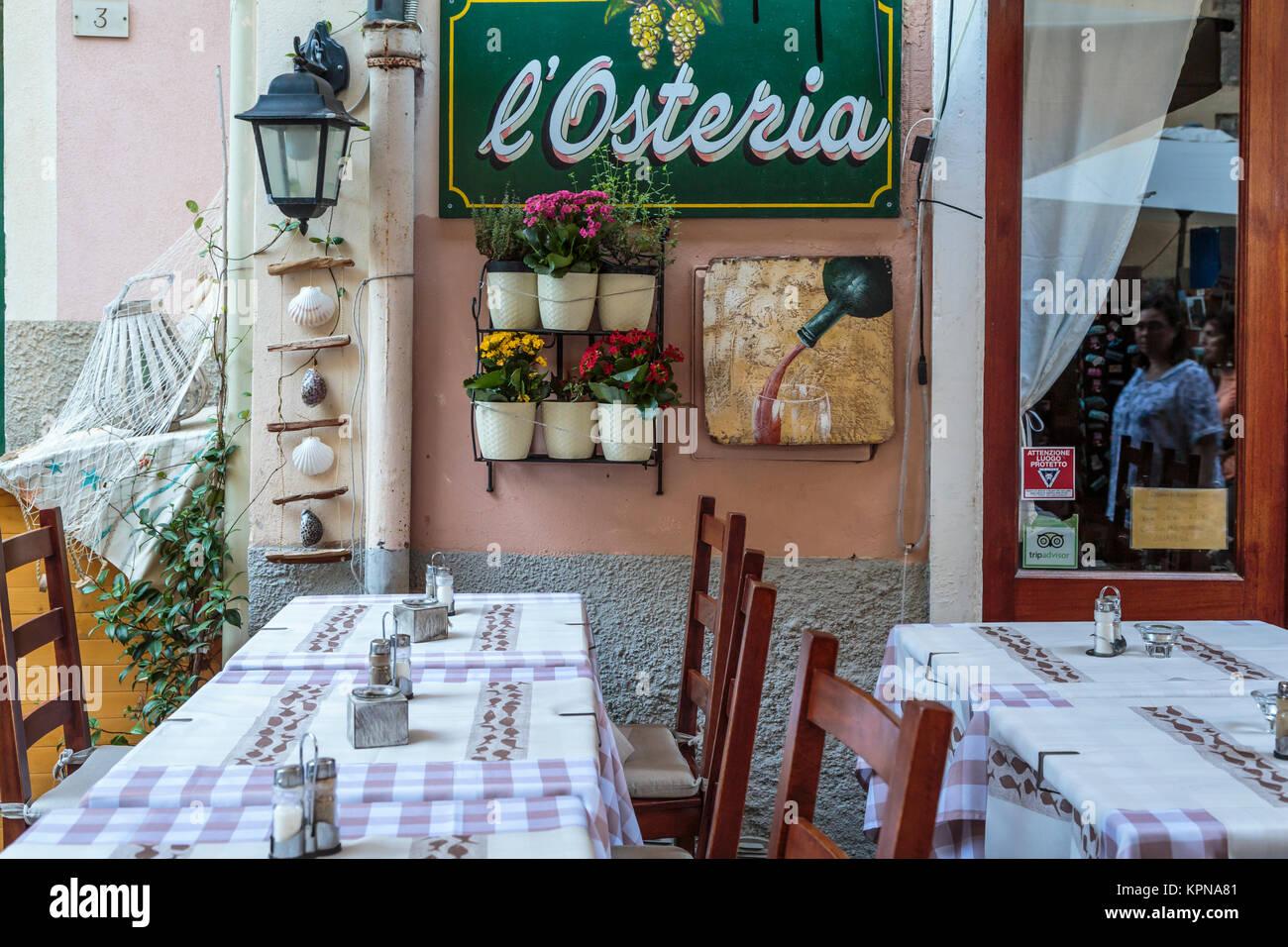 An outdoor restaurant in Monterosso al Mare, Liguria, Italy, Europe. Stock Photo