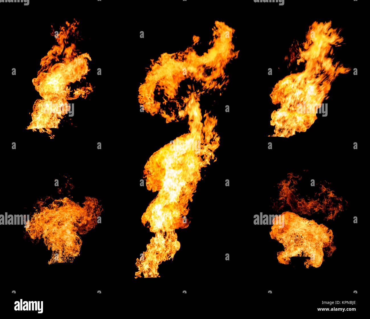 Collection of gas flare spurts of fire raging flame Stock Photo
